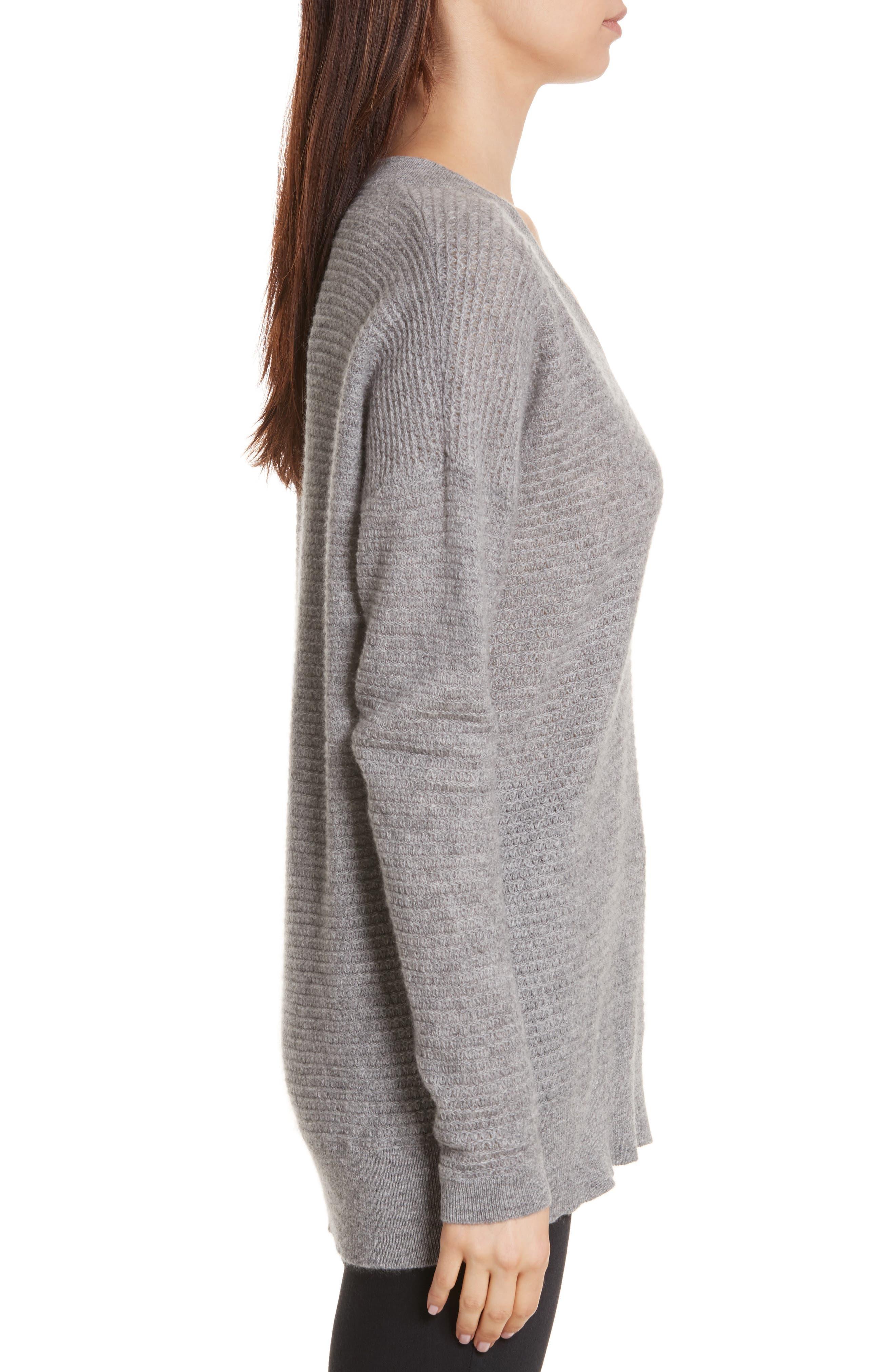 Cashmere V-Neck Sweater,                             Alternate thumbnail 3, color,