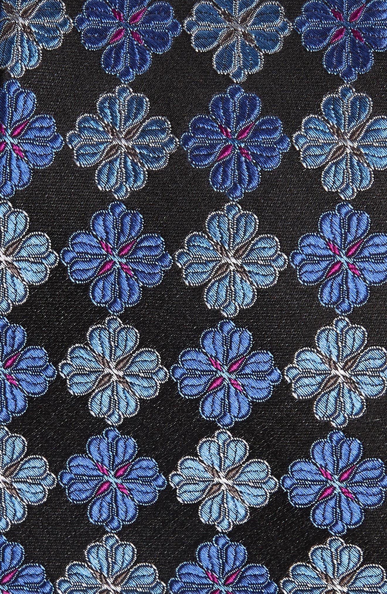 Cole Floral Silk Tie,                             Alternate thumbnail 2, color,                             ONYX