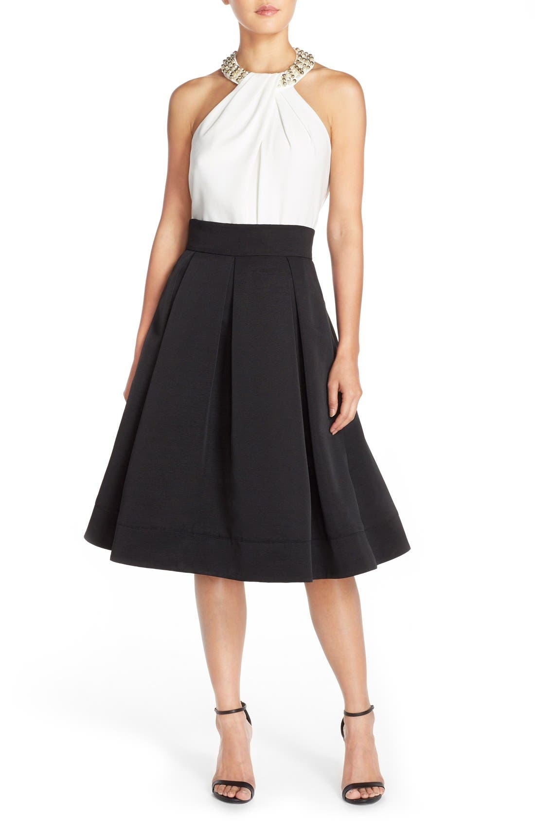 ELIZA J,                             Faille Midi Skirt,                             Alternate thumbnail 6, color,                             001