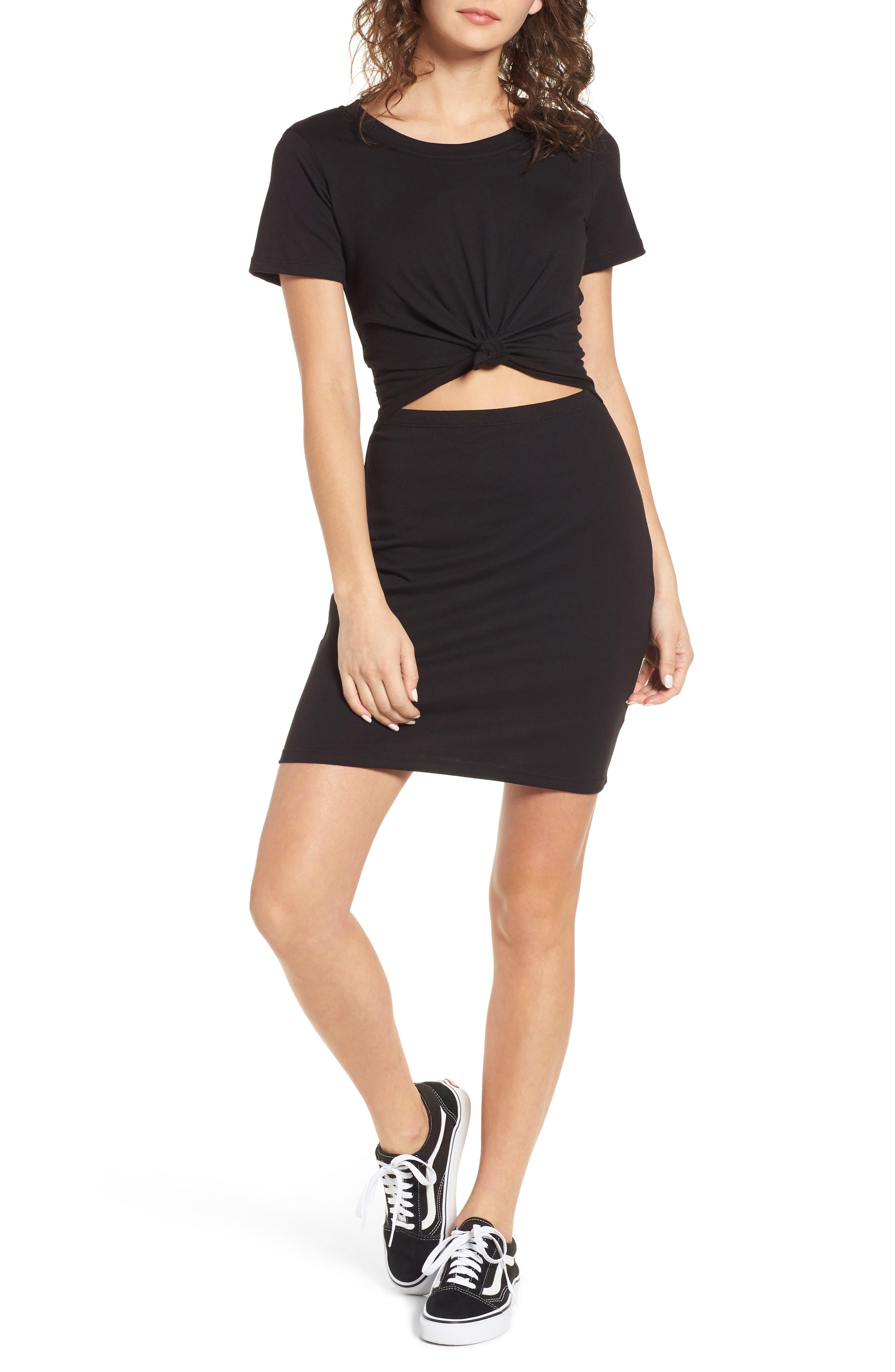 Knot Front Cutout T-Shirt Dress,                         Main,                         color, BLACK