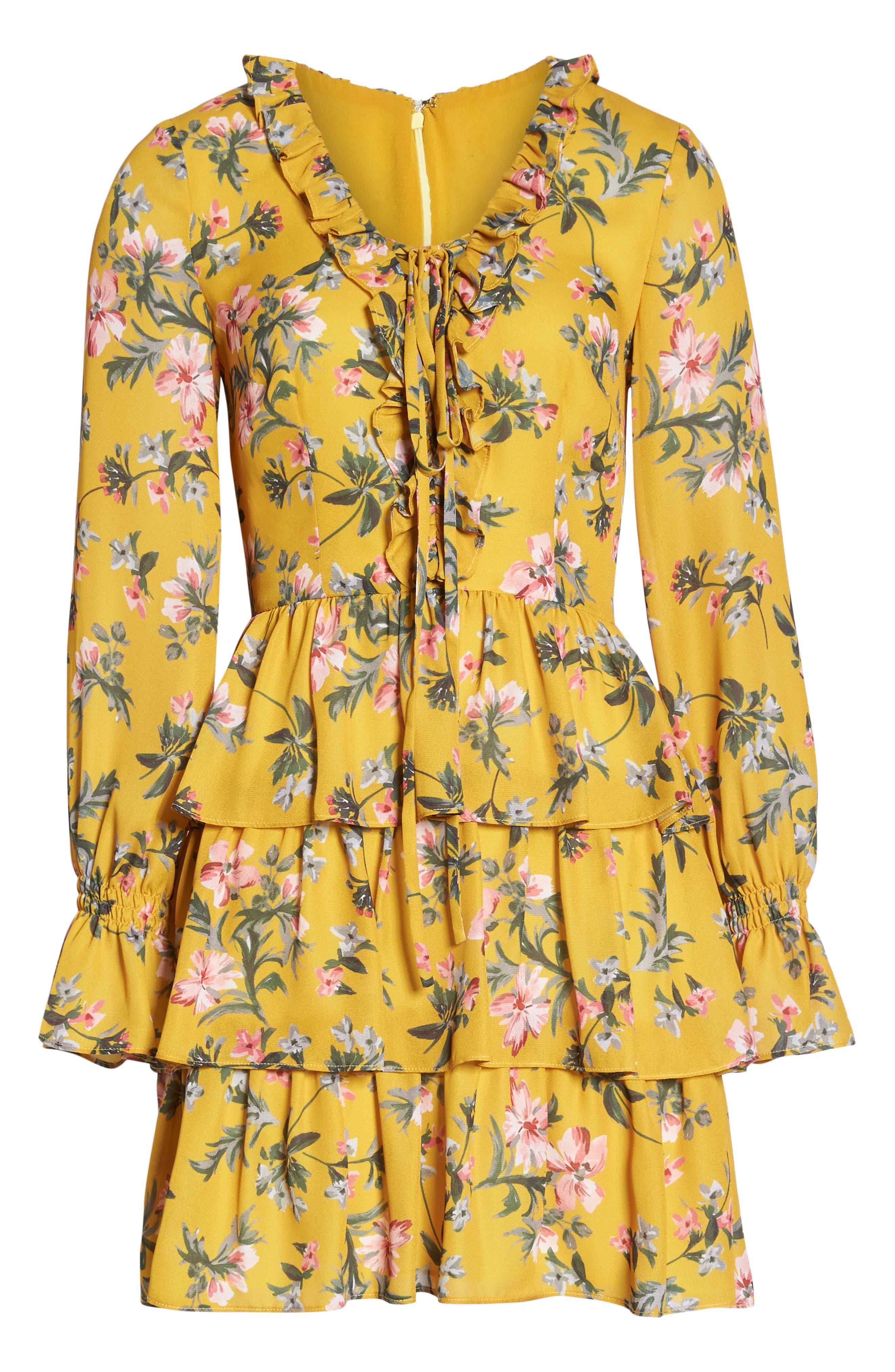 Floral Ruffle Dress,                             Alternate thumbnail 7, color,                             MARIGOLD MULTI