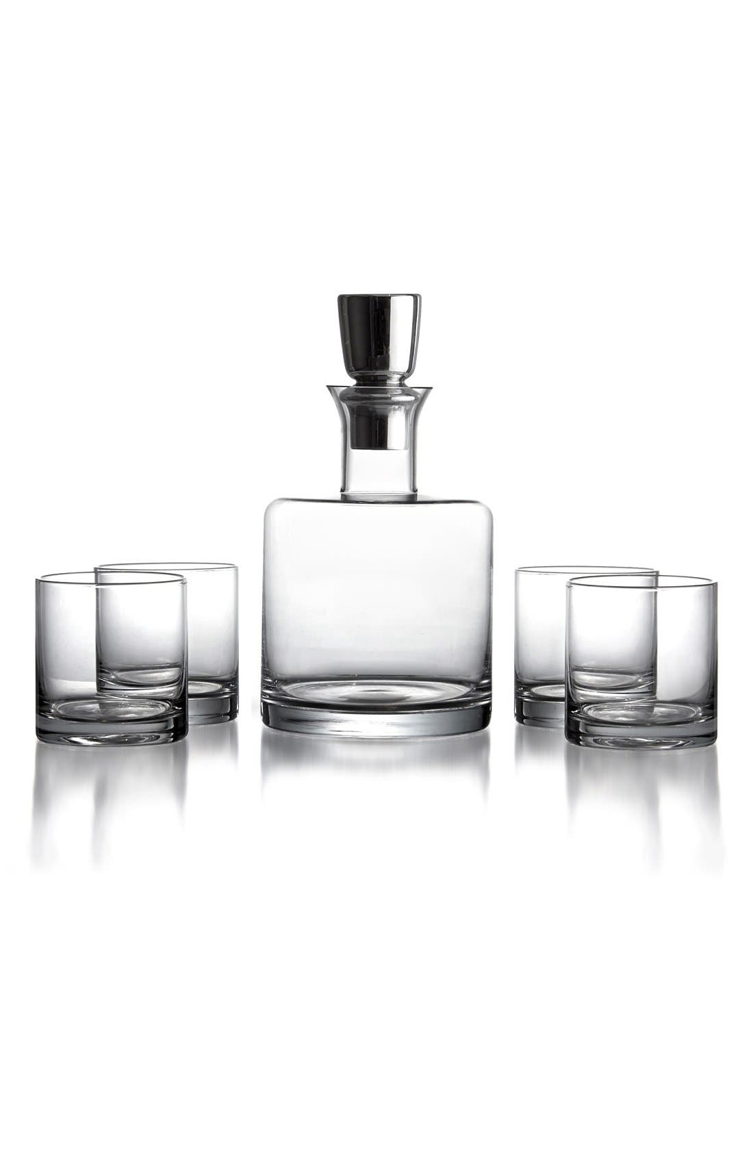 'Linus' Decanter & Whiskey Glasses,                             Main thumbnail 1, color,                             CLEAR