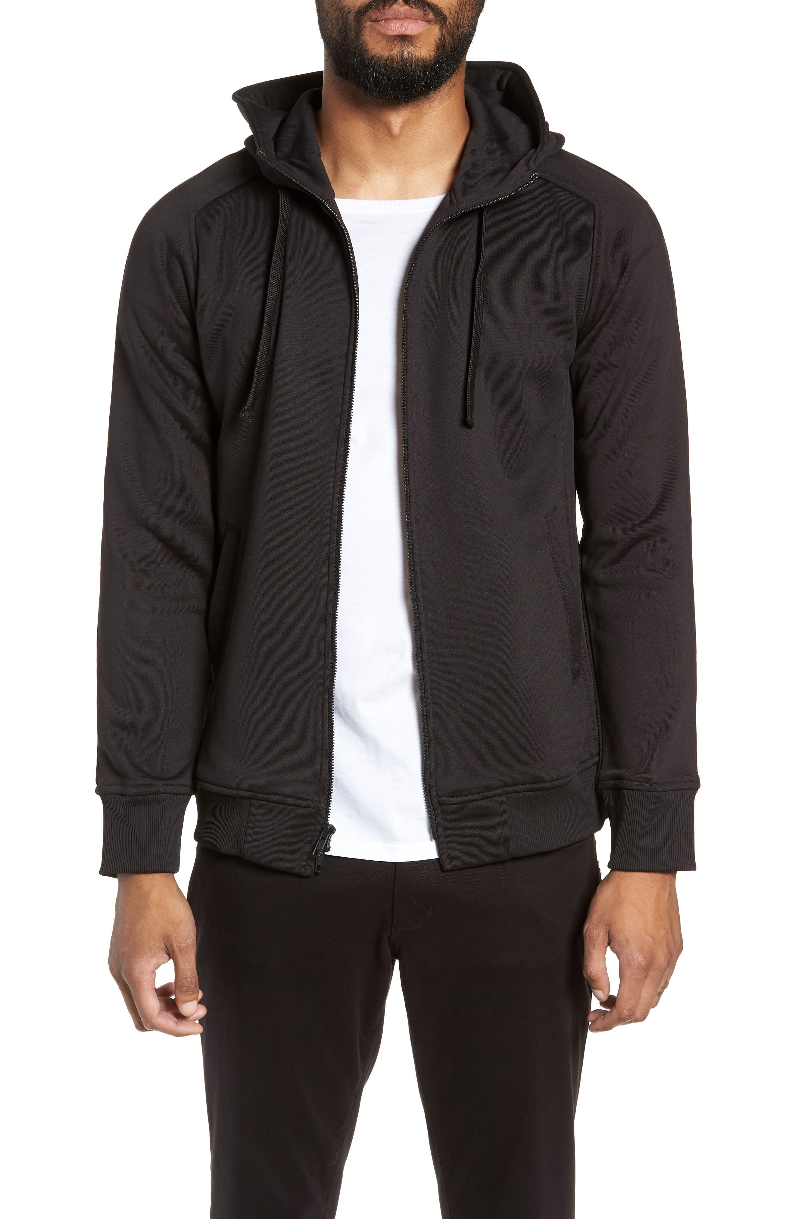 The Lux Trim Fit Full Zip Hoodie,                         Main,                         color, BLACK
