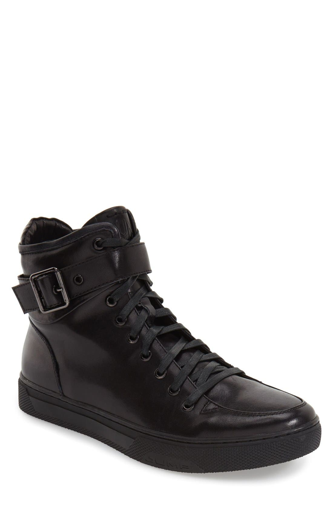 Sullivan High Top Sneaker,                             Main thumbnail 1, color,                             BLACK LEATHER