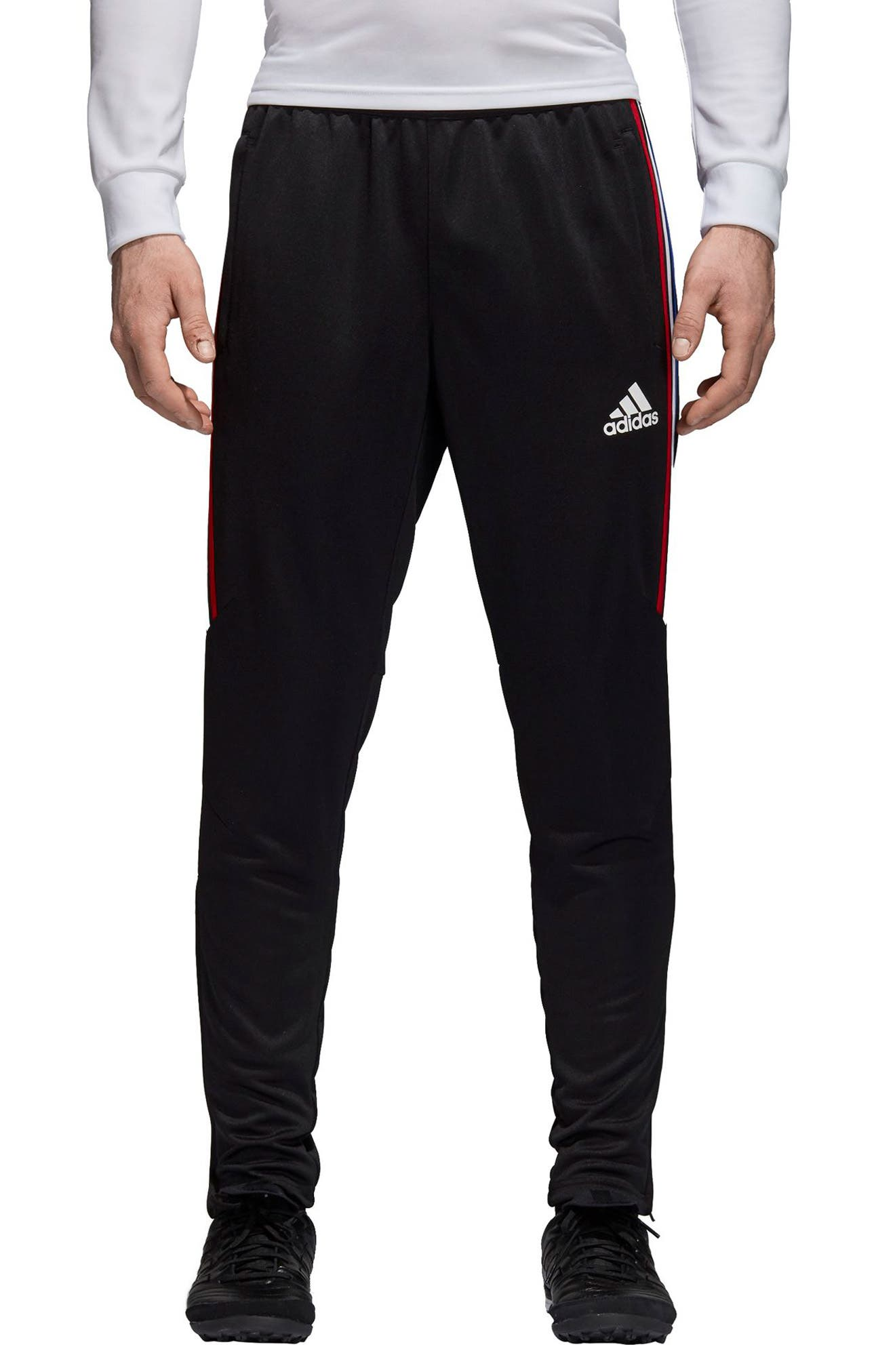 Tiro 17 Regular Fit Training Pants,                         Main,                         color, BLACK/ RED/ WHITE/ BLUE
