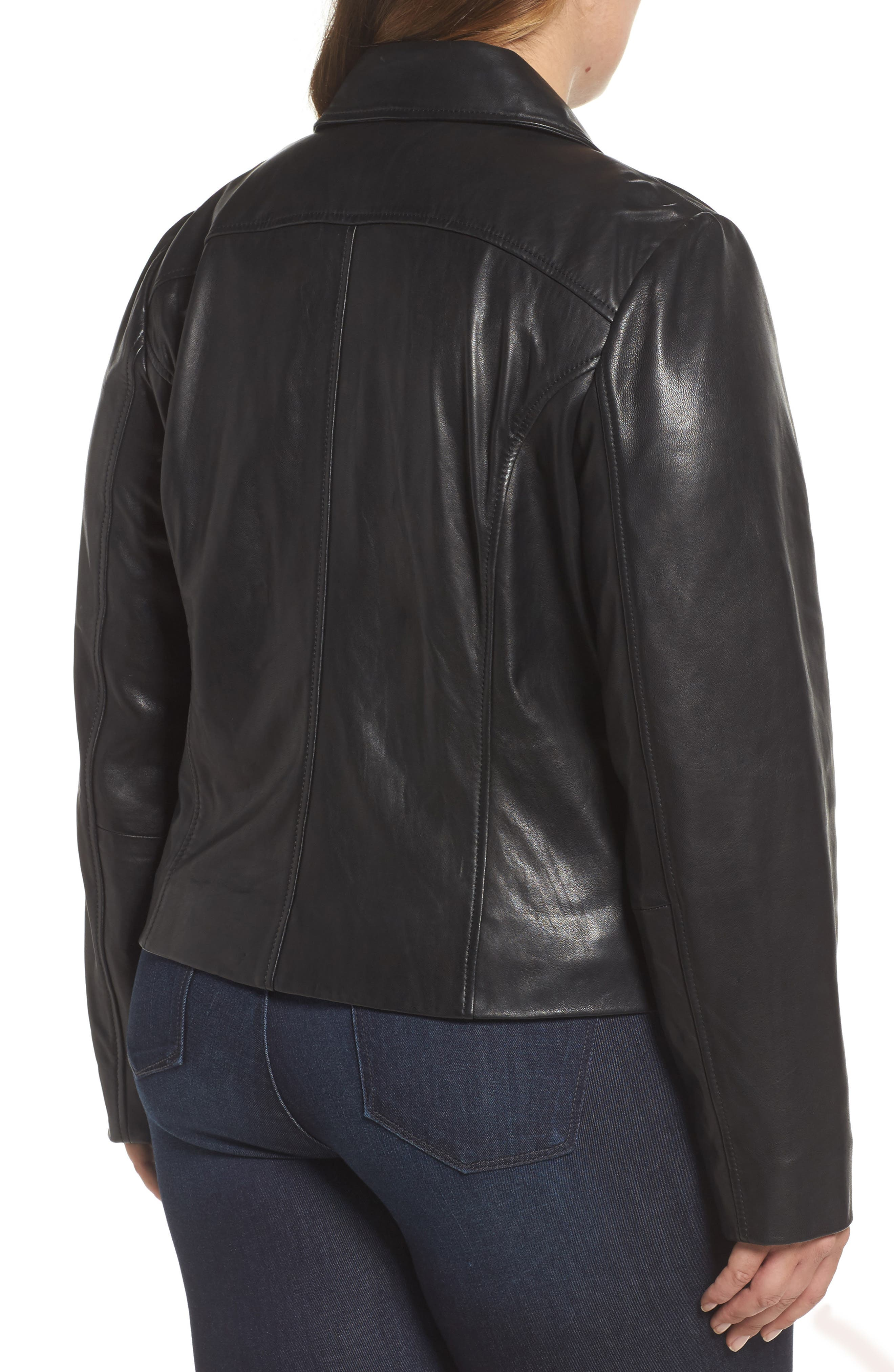 Leather Moto Jacket,                             Alternate thumbnail 8, color,
