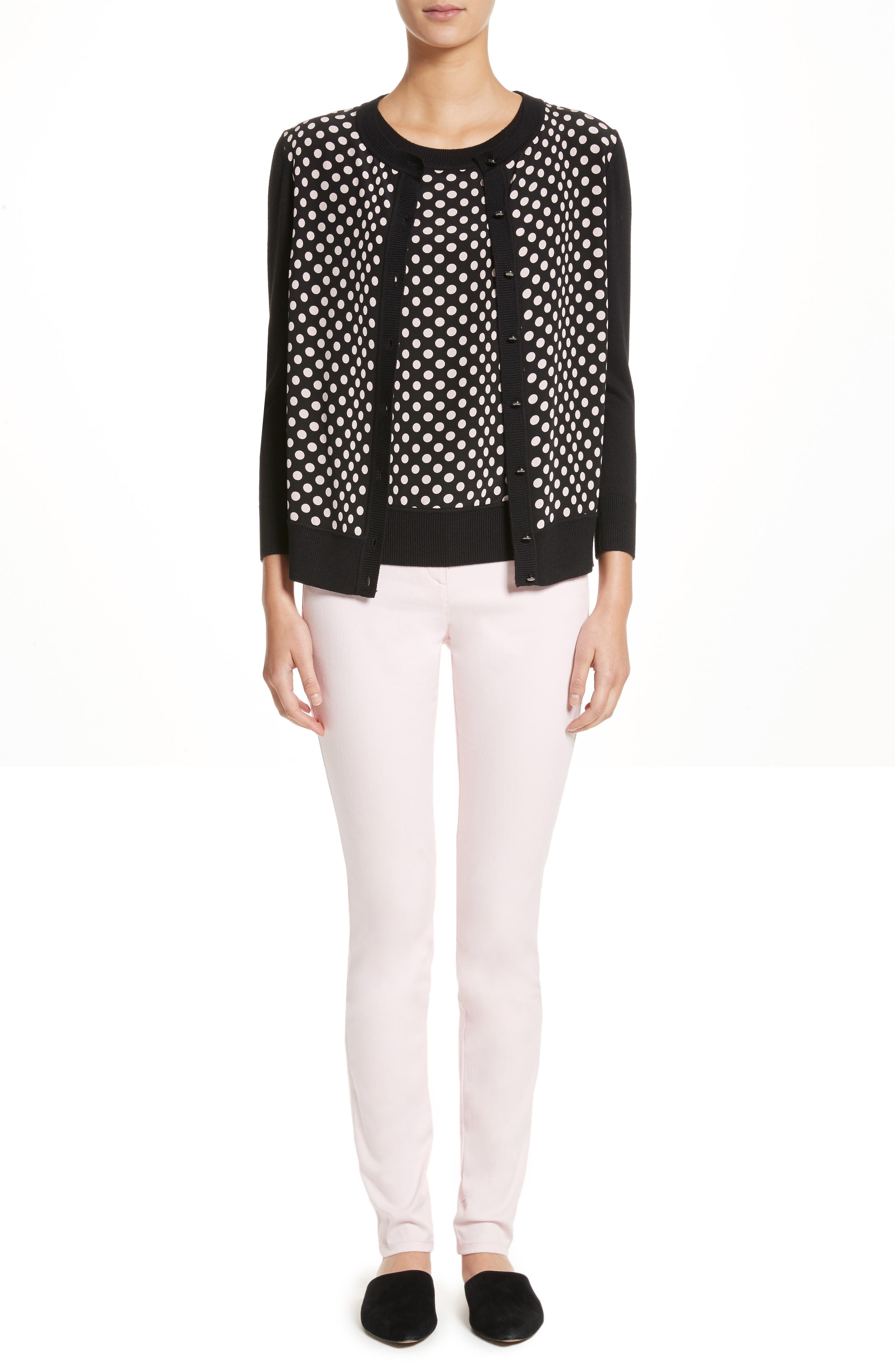 Polka Dot Cardigan,                             Alternate thumbnail 7, color,                             001