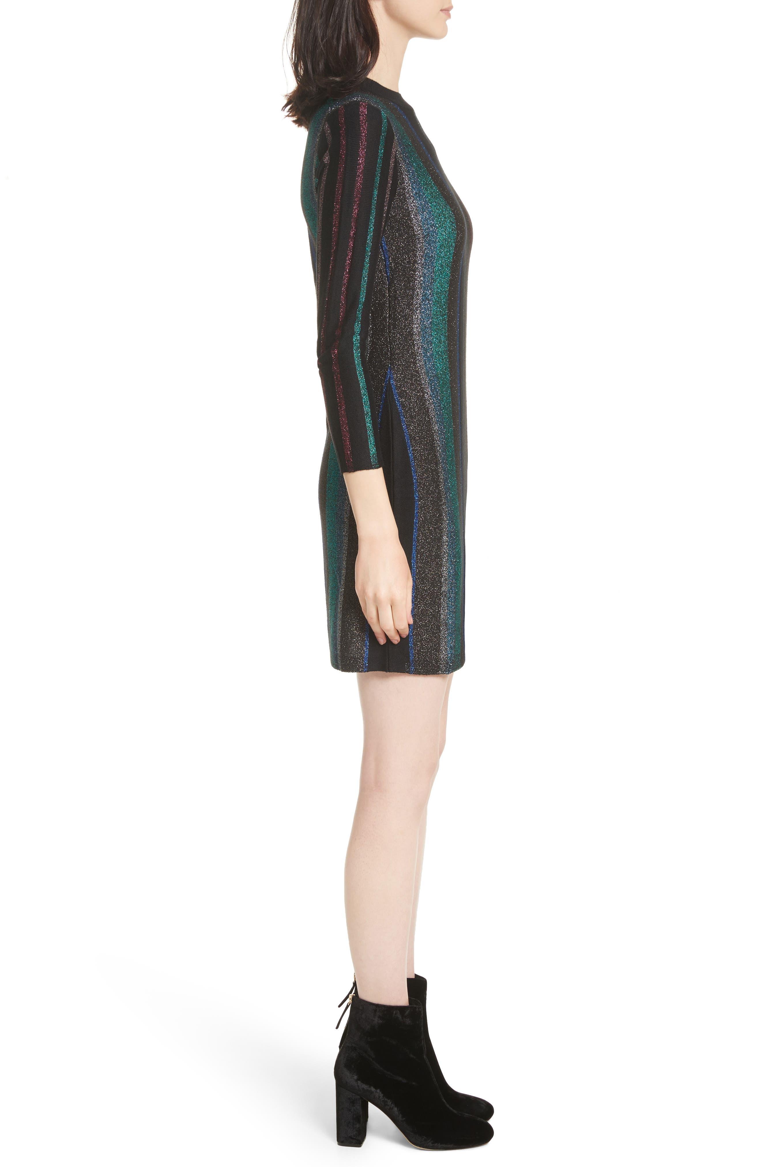 Metallic Stripe Body-Con Dress,                             Alternate thumbnail 3, color,                             001