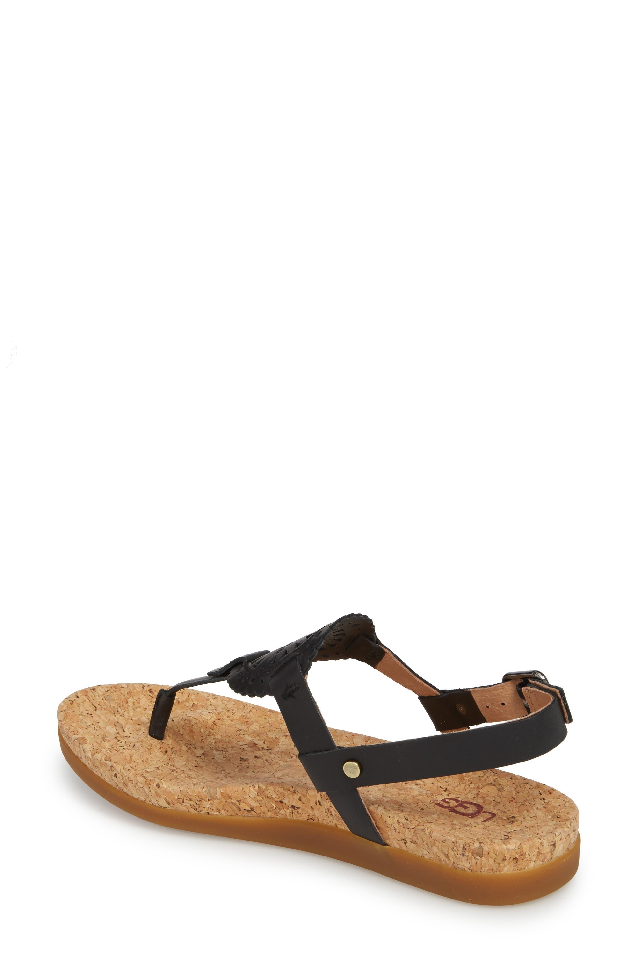 UGG<SUP>®</SUP>,                             Ayden II T-Strap Sandal,                             Alternate thumbnail 2, color,                             BLACK LEATHER