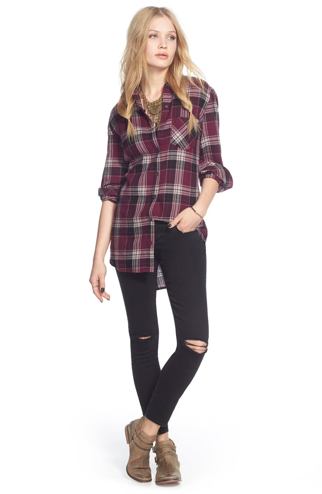 'Sarah' Distressed Skinny Jeans,                             Alternate thumbnail 3, color,                             006