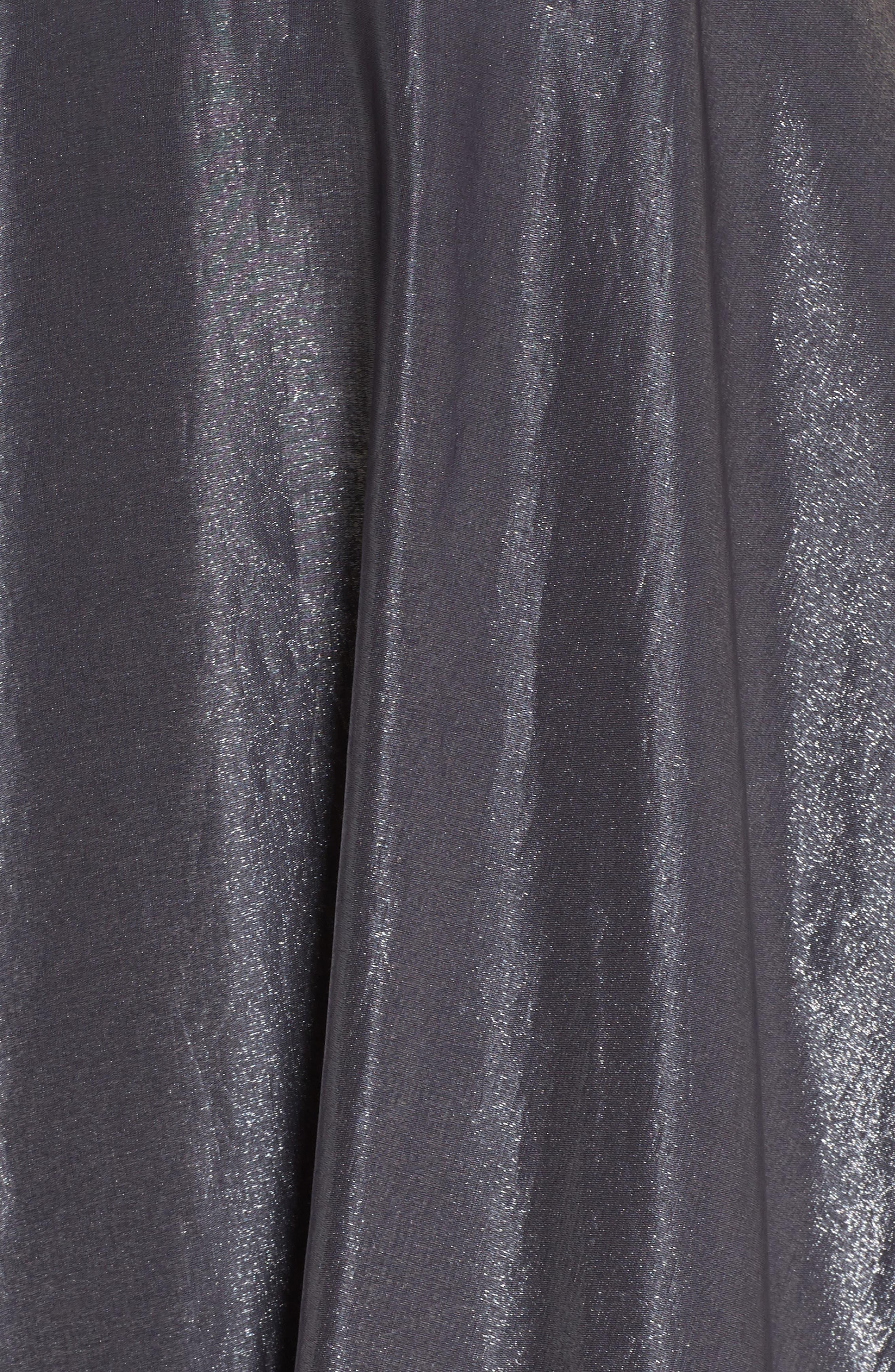Beaded Halter Neck A-Line Gown,                             Alternate thumbnail 5, color,                             PLATINUM