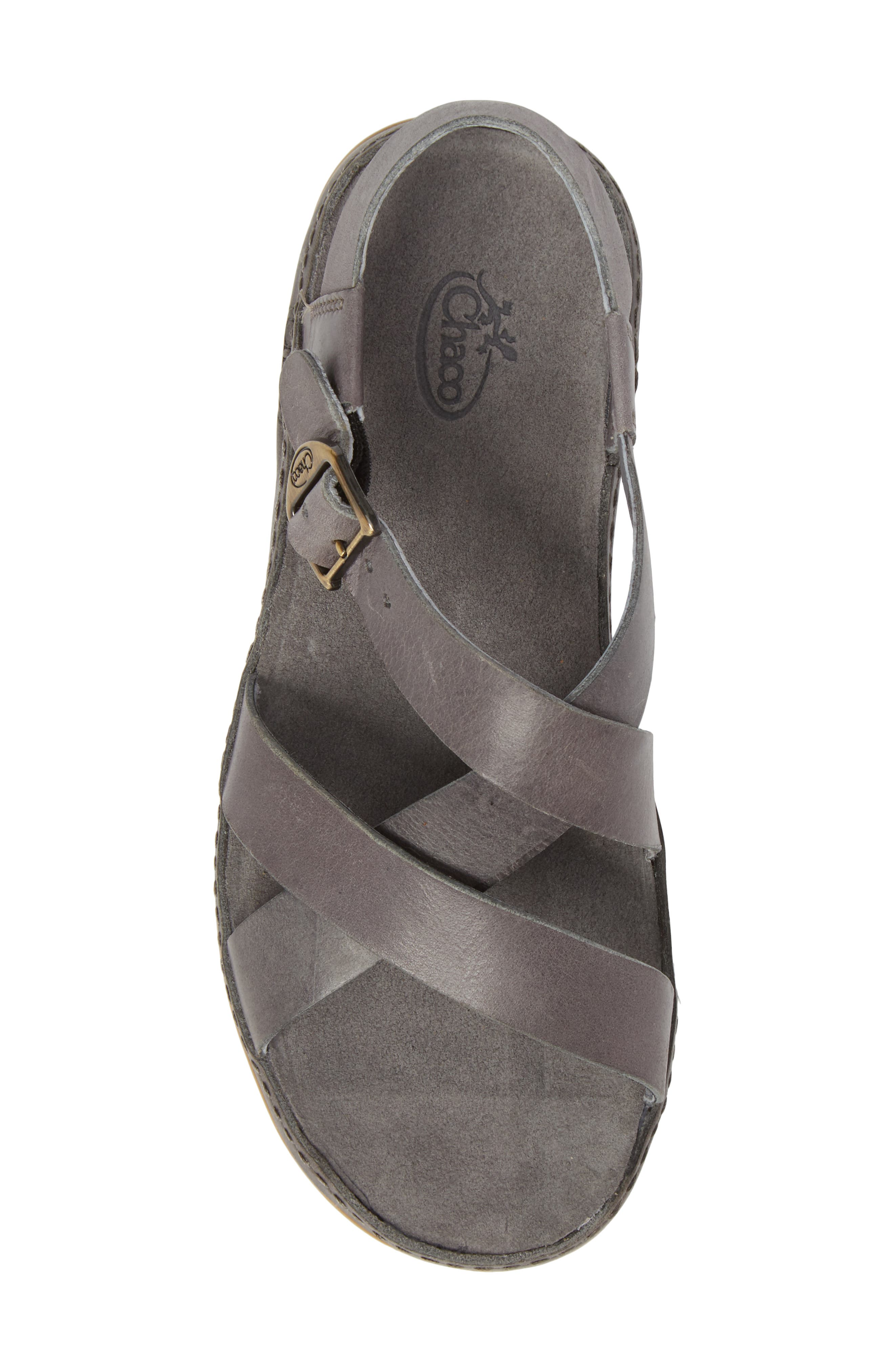 Strappy Sandal,                             Alternate thumbnail 5, color,                             GREY LEATHER