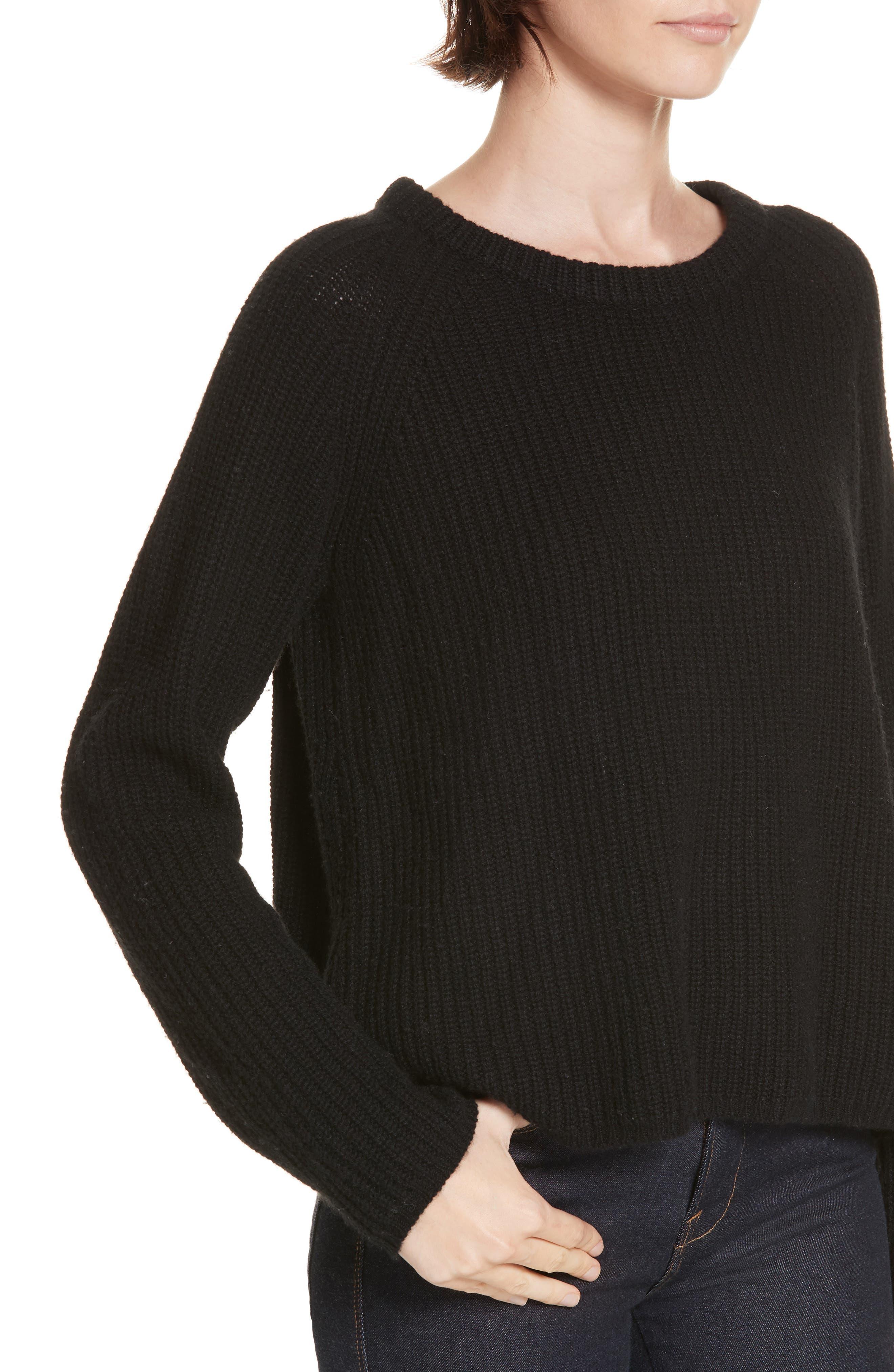 JENNI KAYNE,                             Fisherman Crewneck Cashmere Sweater,                             Alternate thumbnail 4, color,                             001