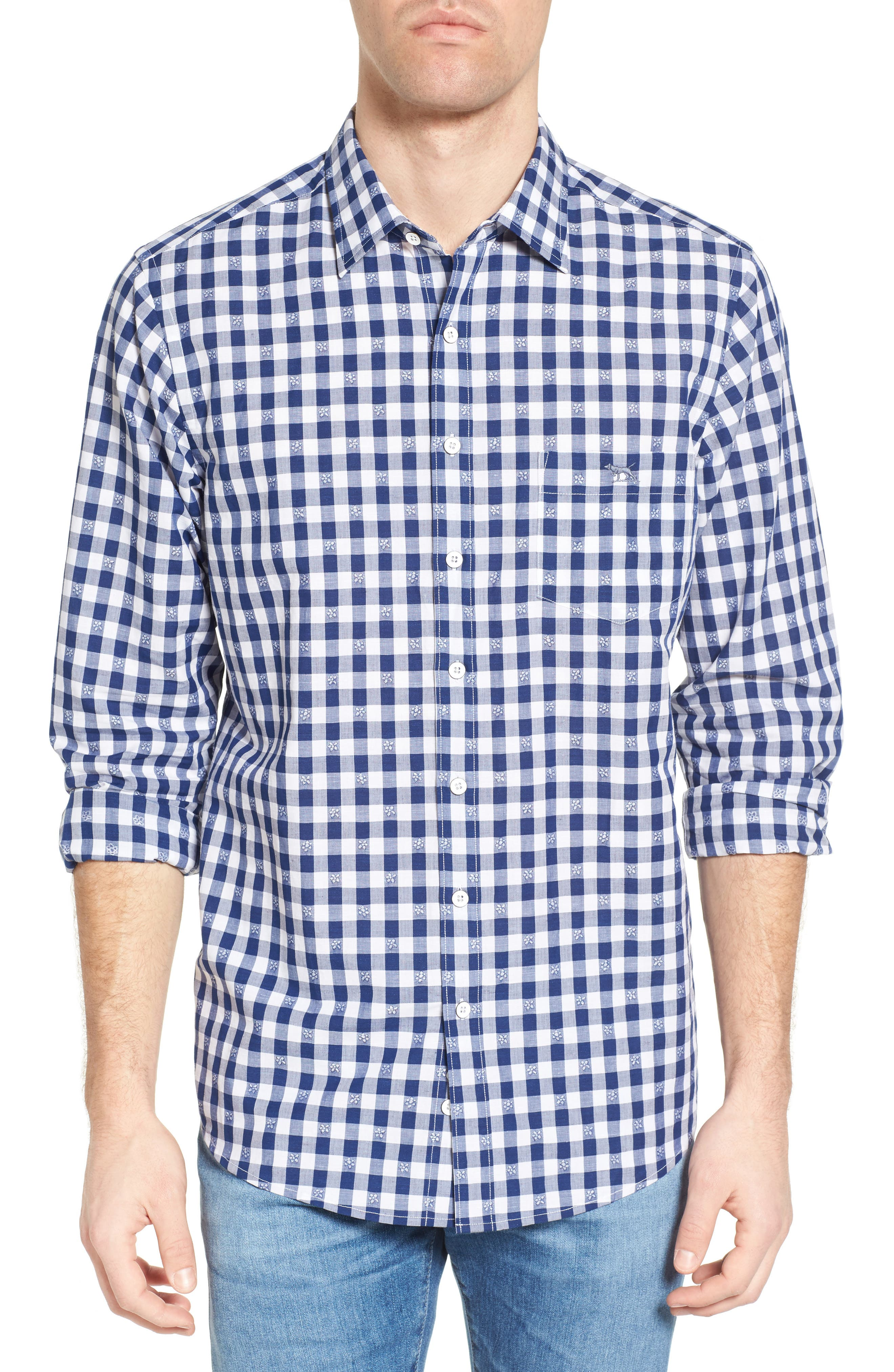 Wallace Floral Check Sport Shirt,                         Main,                         color, 423