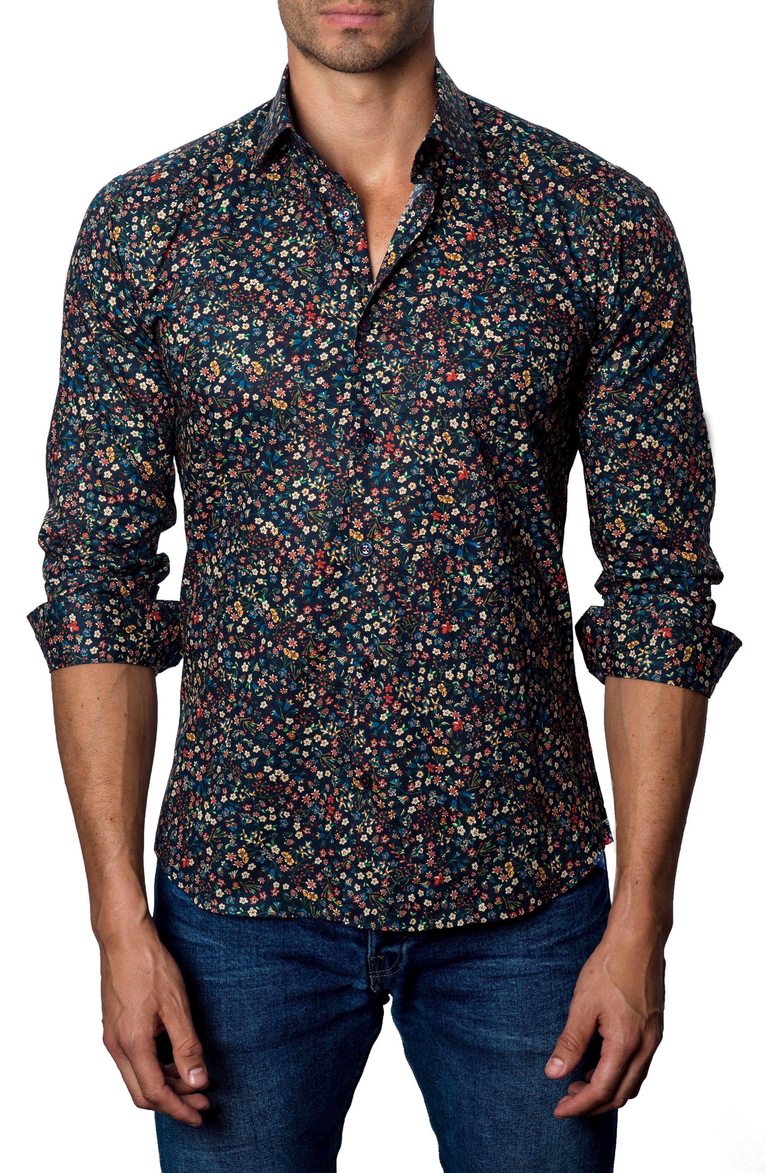 Floral Print Sport Shirt,                         Main,                         color, 001