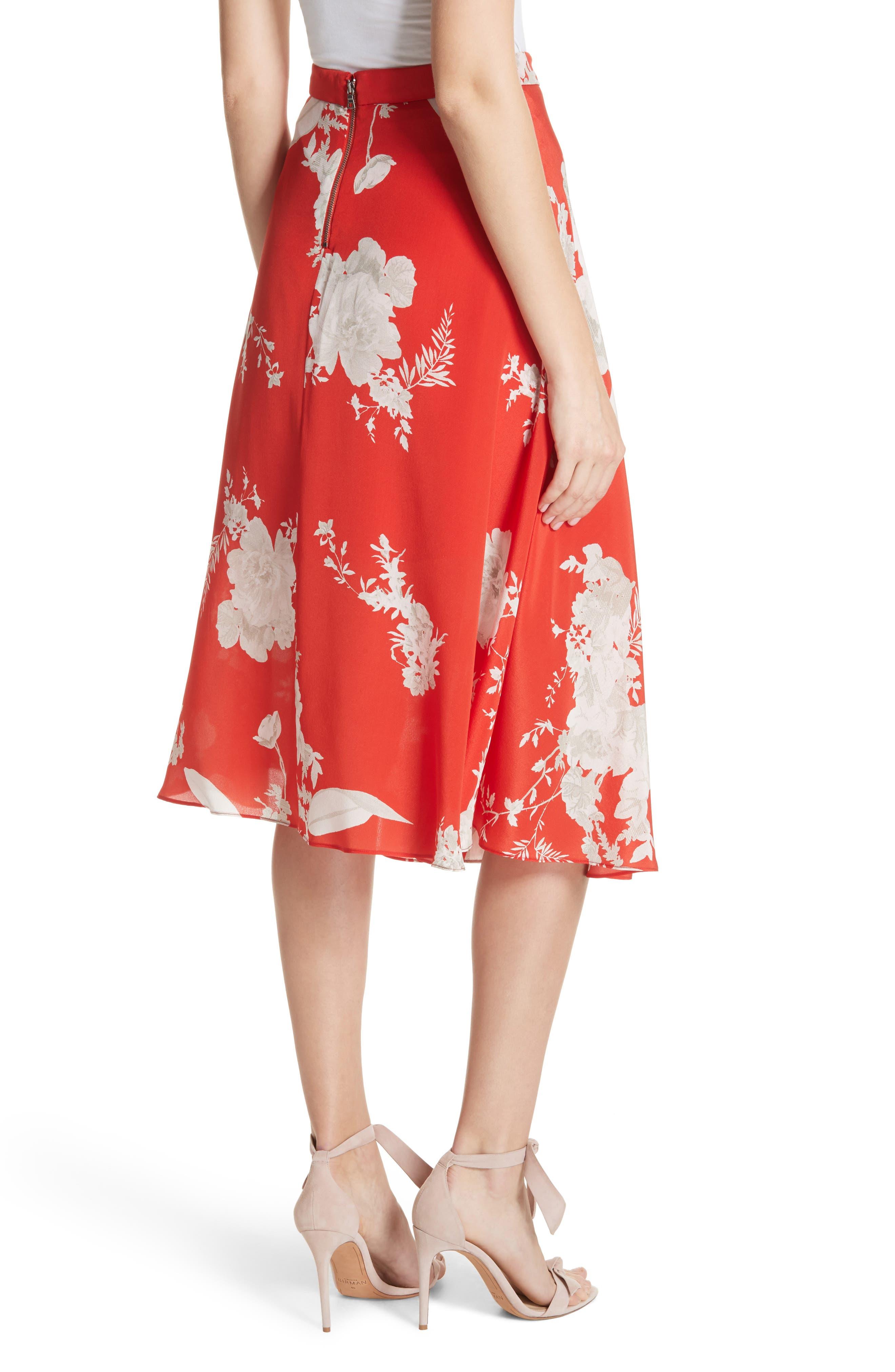 ALICE + OLIVIA,                             Nanette Faux Wrap Floral Silk Skirt,                             Alternate thumbnail 2, color,                             606