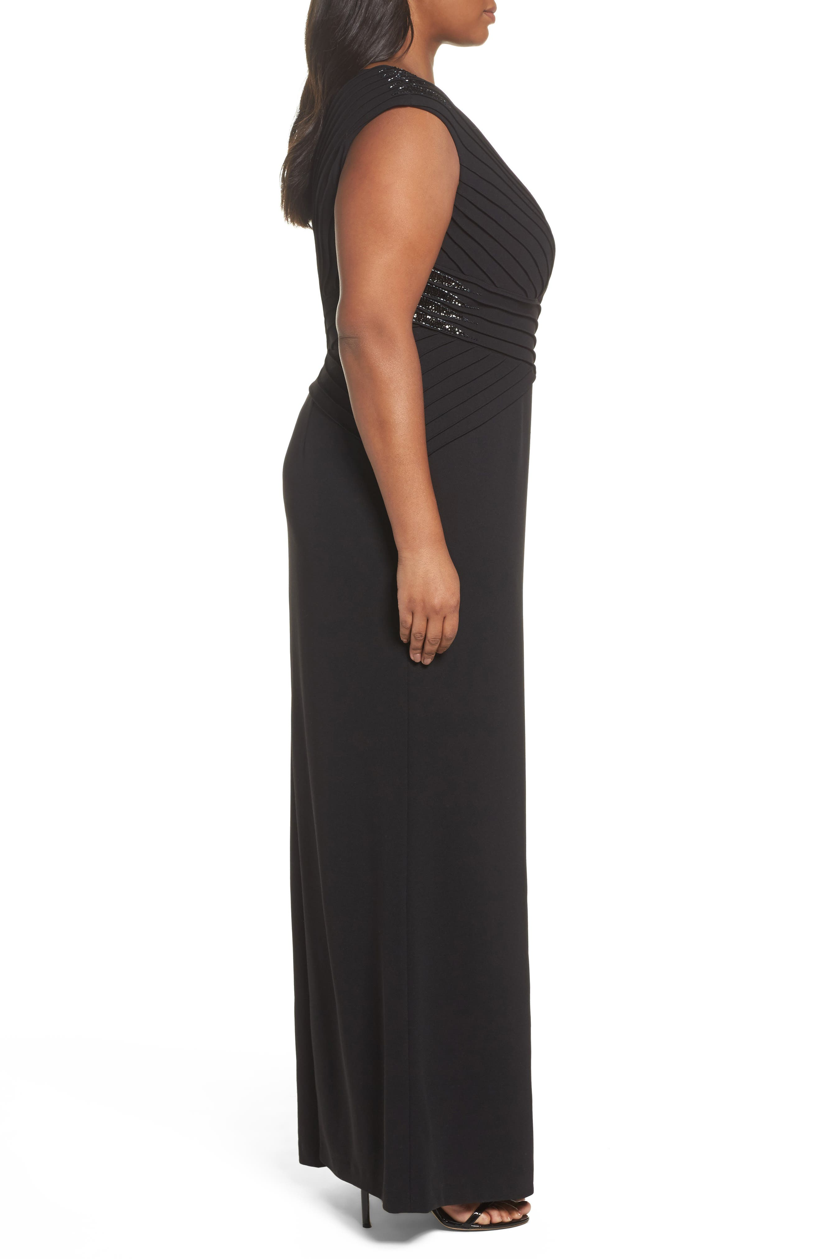 Embellsihed Pintucked A-Line Gown,                             Alternate thumbnail 3, color,