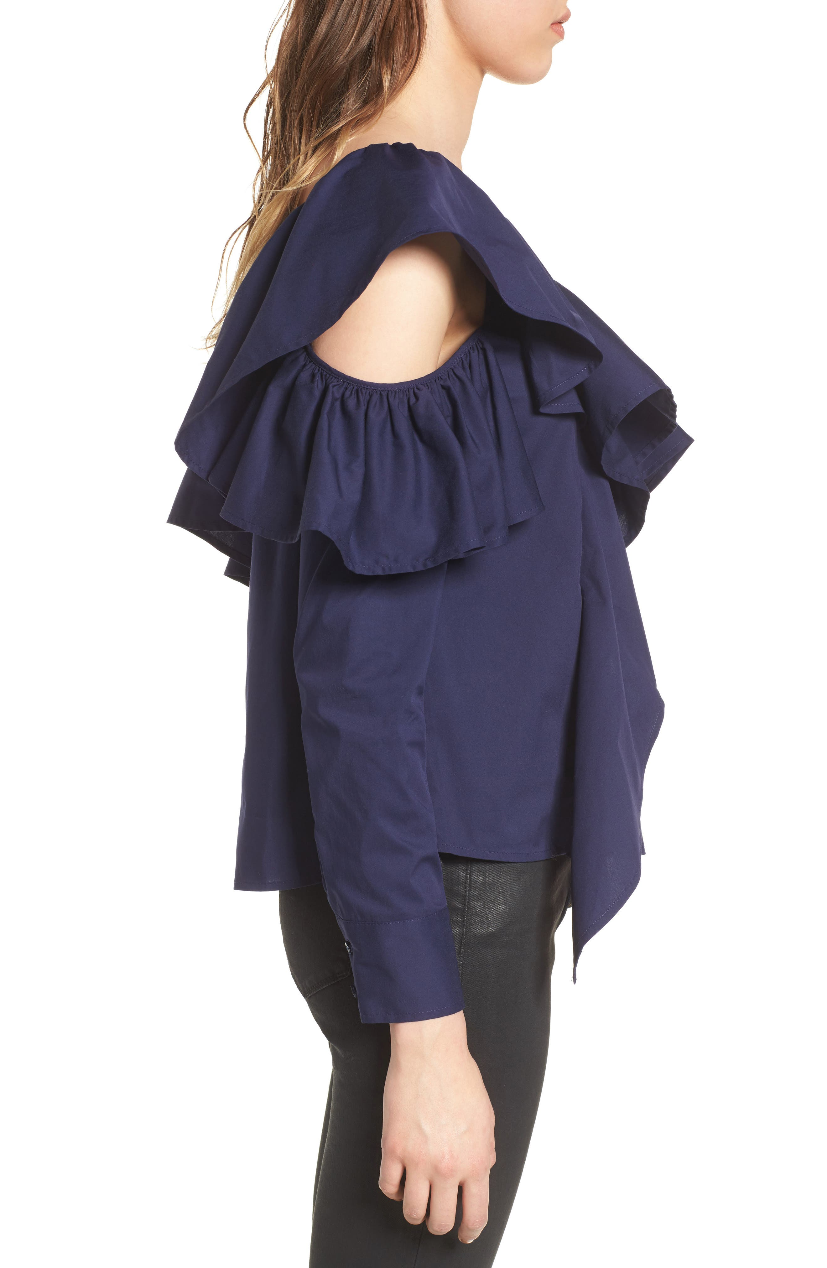One-Shoulder Ruffle Top,                             Alternate thumbnail 4, color,                             410