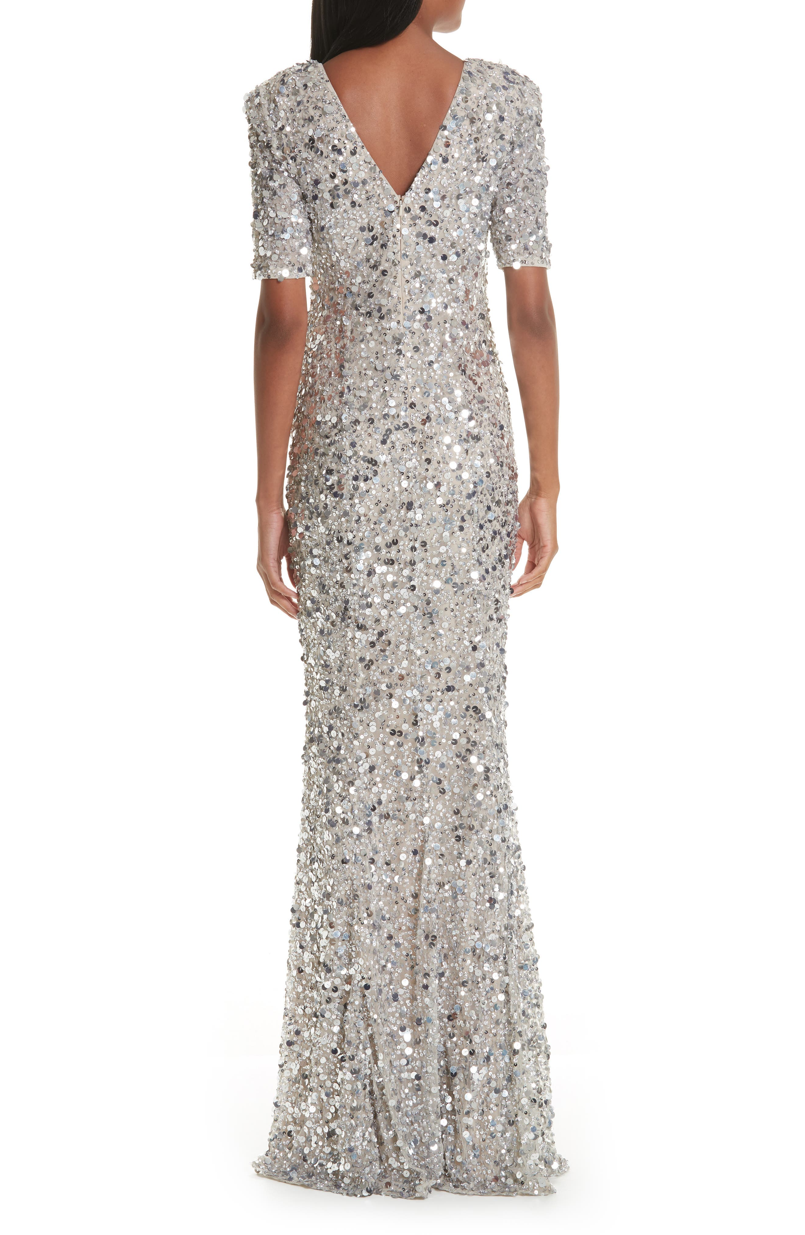 Zowie Sequin Gown,                             Alternate thumbnail 2, color,                             SILVER