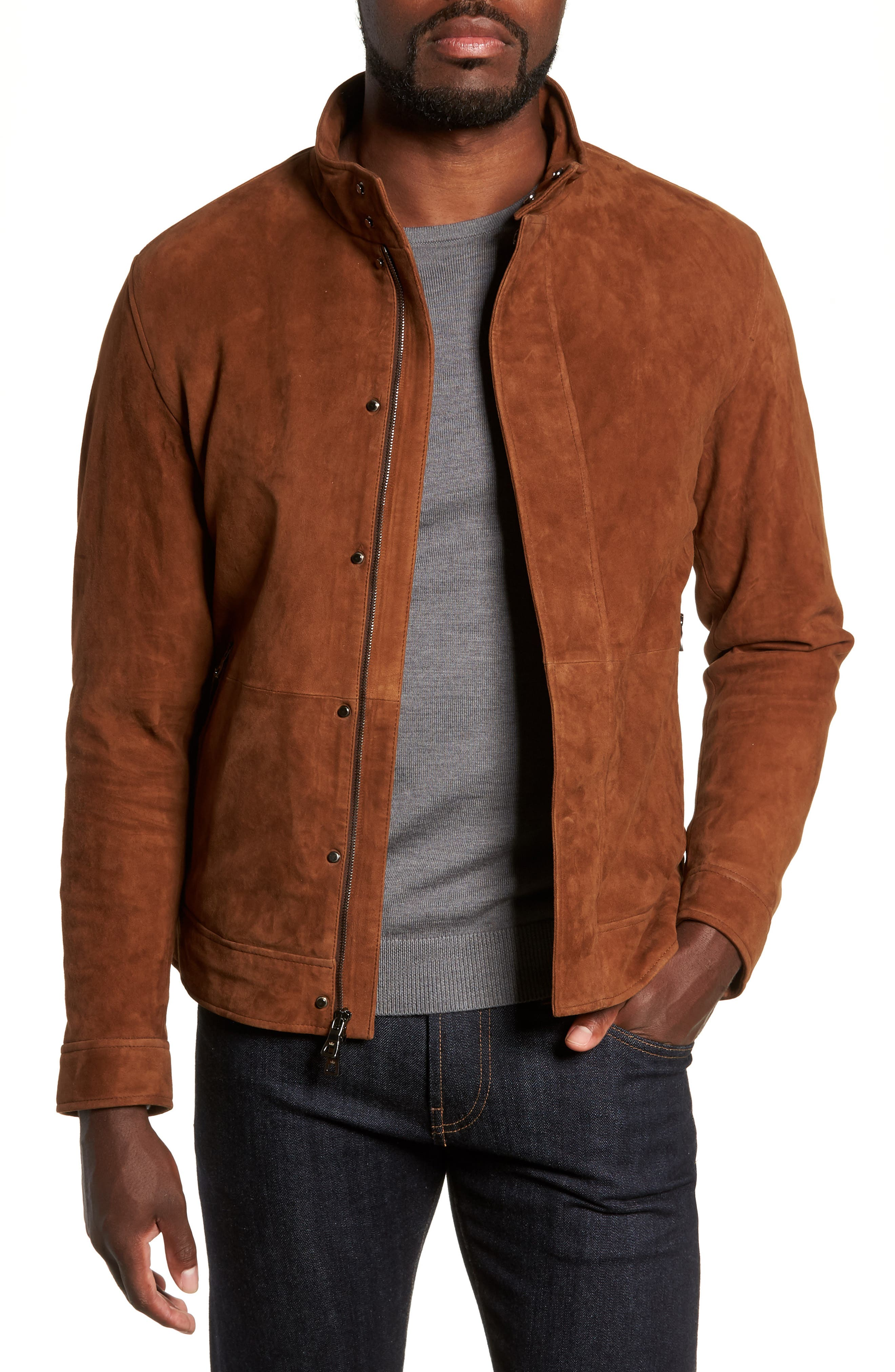 Peter Millar Collection Suede Blouson Jacket, Brown
