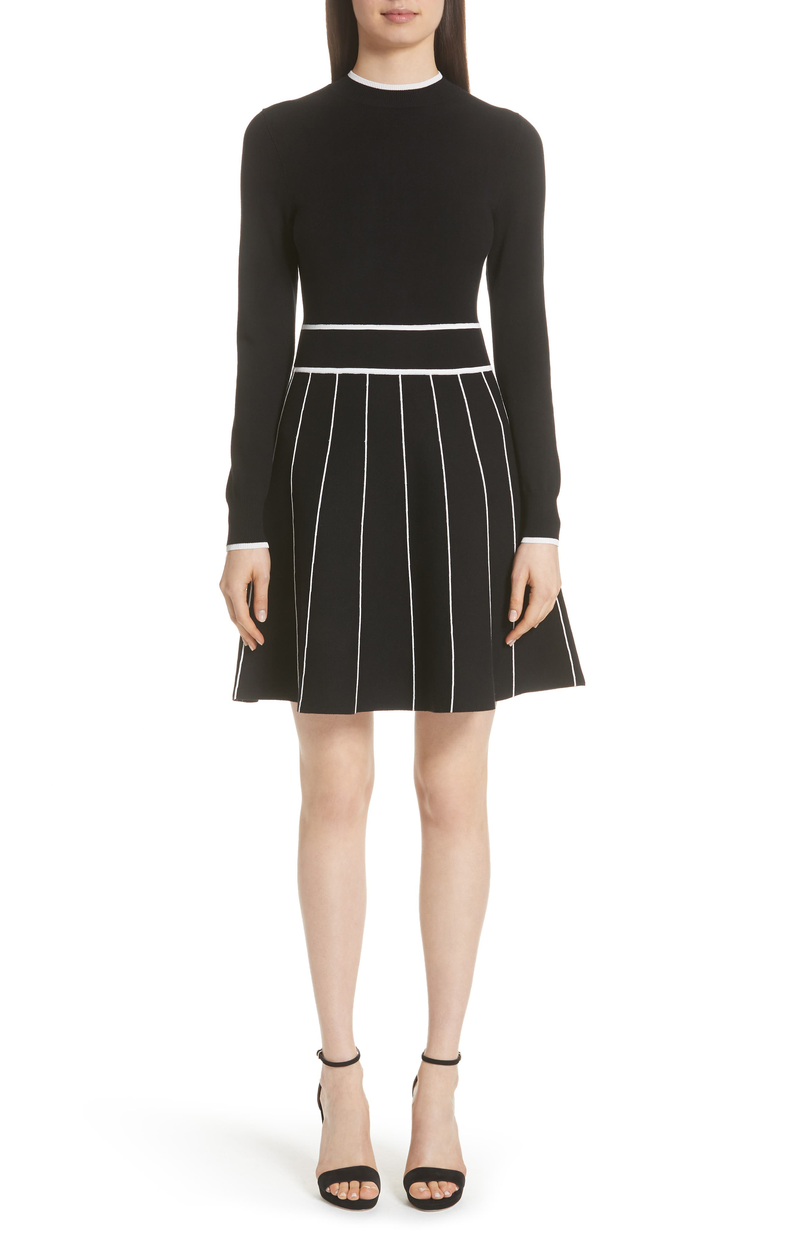LELA ROSE Long-Sleeve Crewneck Striped Fit-And-Flare Knit Cocktail Dress in Black