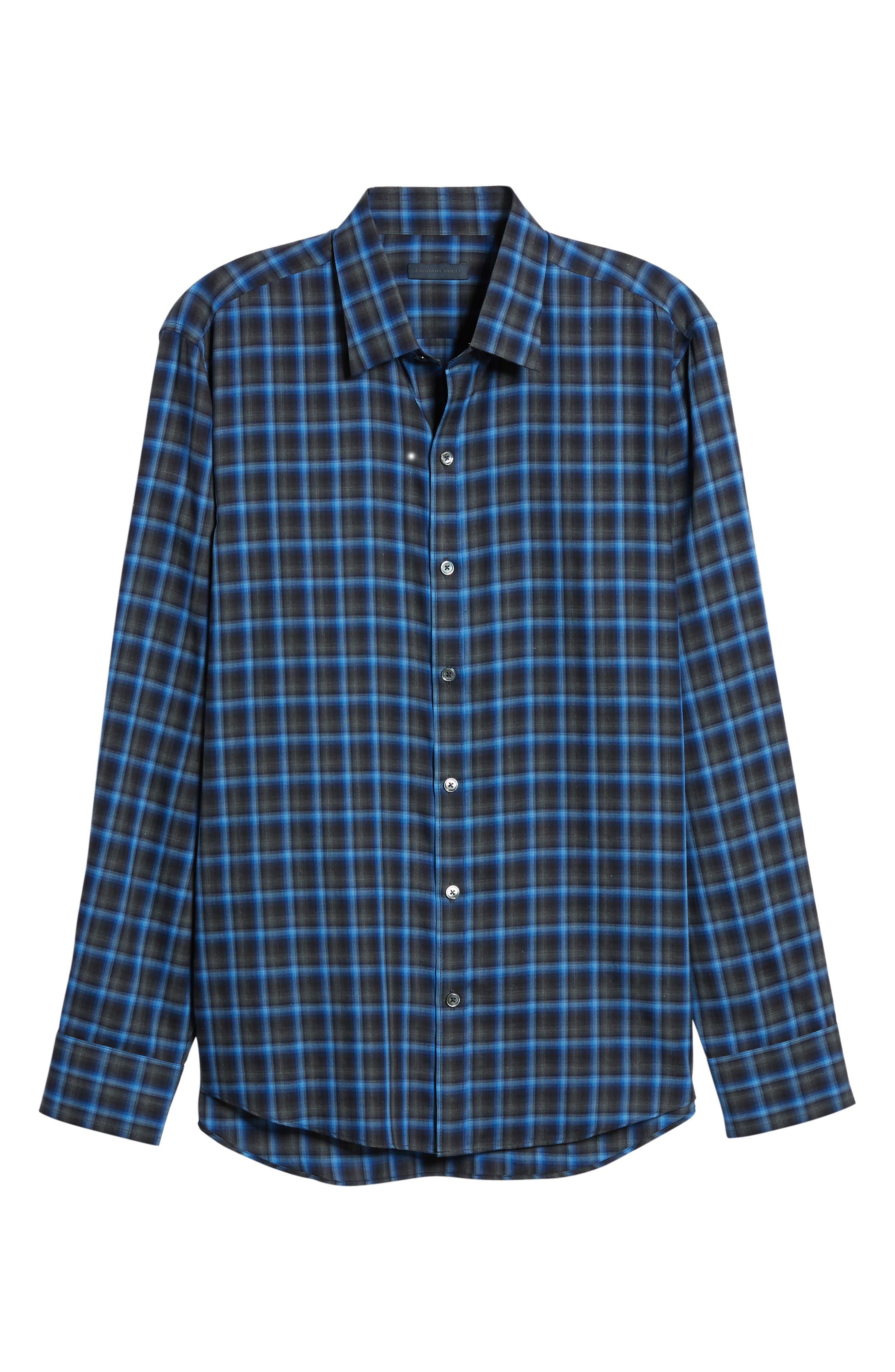 Danise Regular Fit Check Sport Shirt,                             Alternate thumbnail 5, color,                             ROYAL BLUE