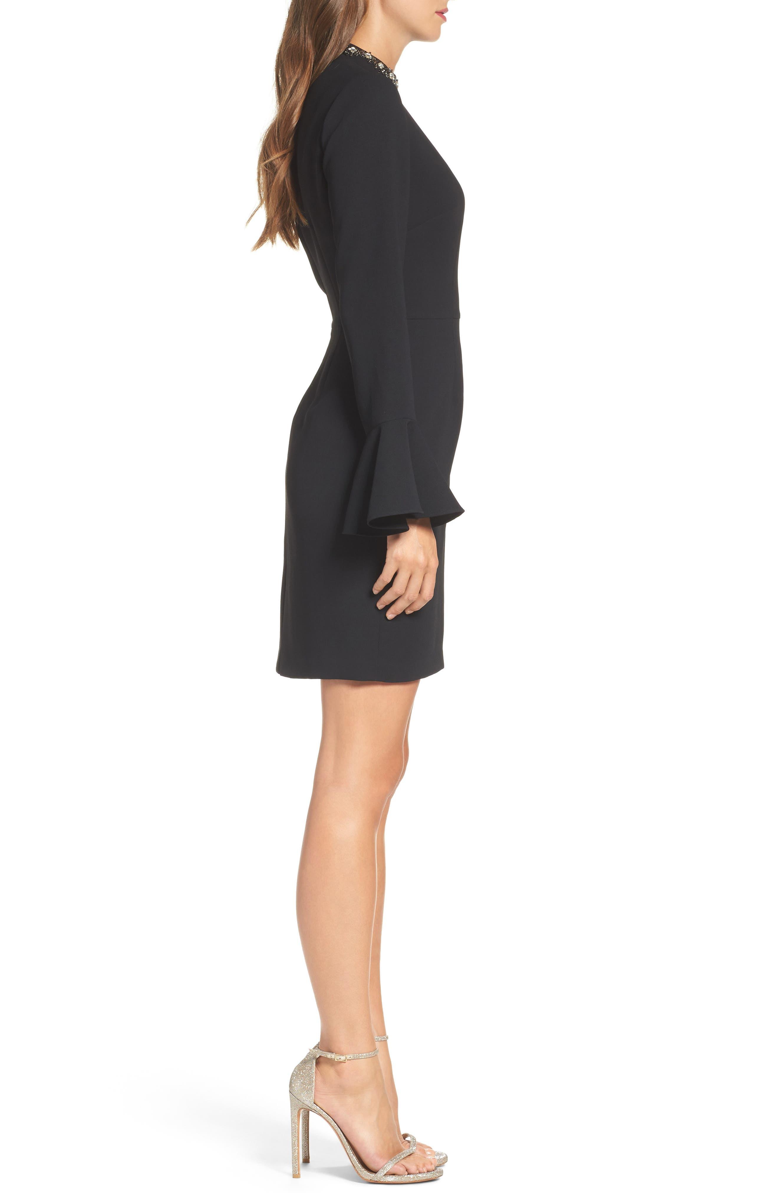 Crystal Choker Bell Sleeve Sheath Dress,                             Alternate thumbnail 5, color,