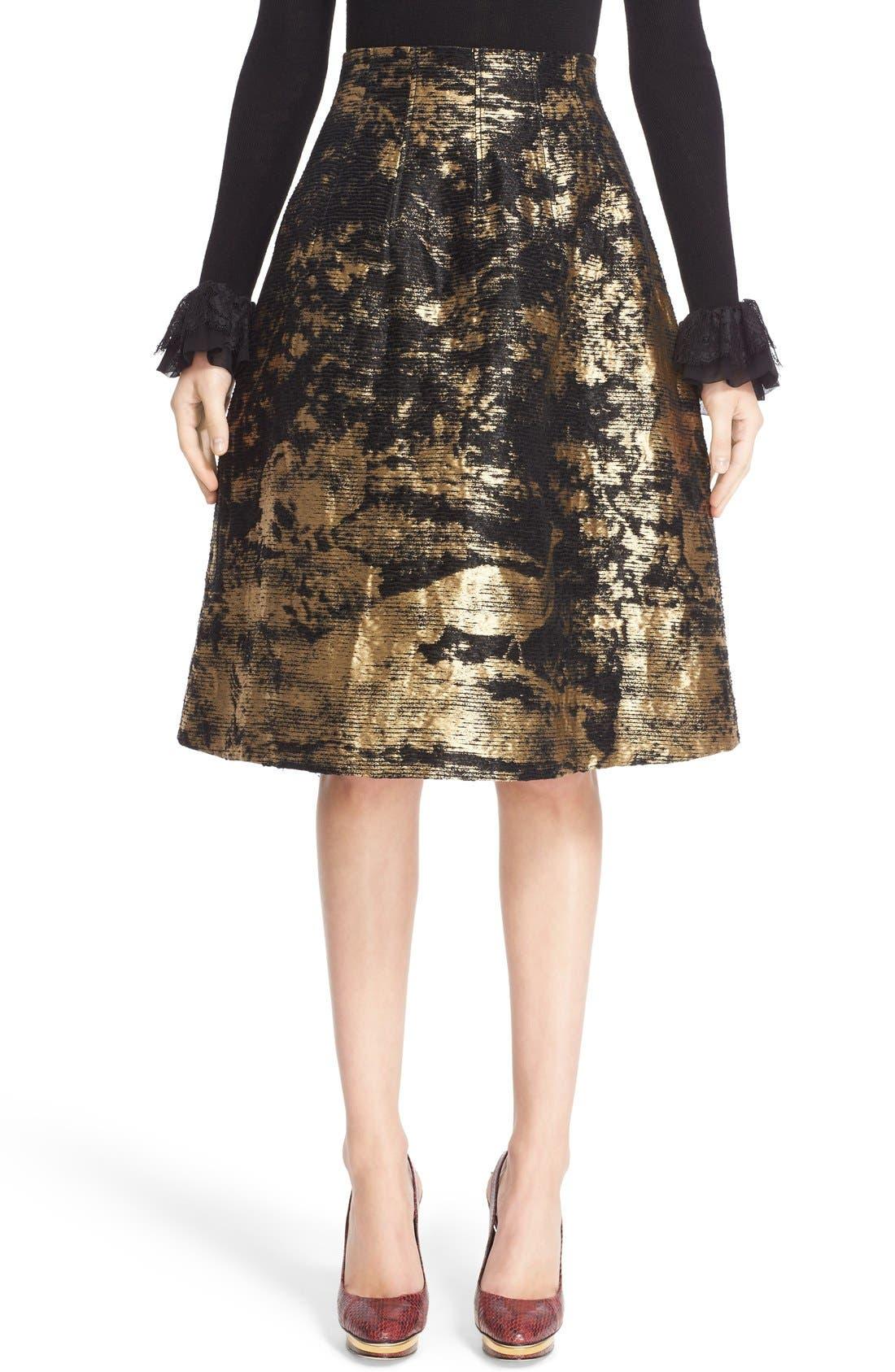Peacock Jacquard Skirt, Main, color, 710