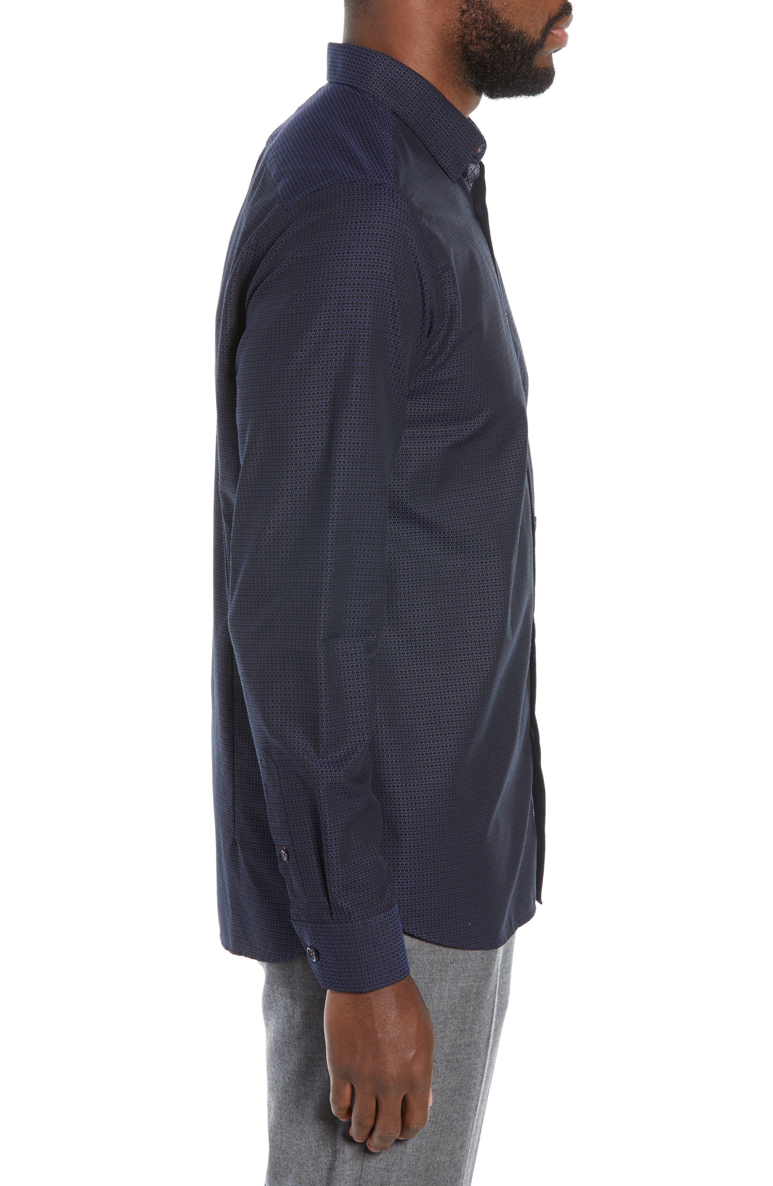 Myll Slim Fit Jacquard Sport Shirt,                             Alternate thumbnail 4, color,                             NAVY