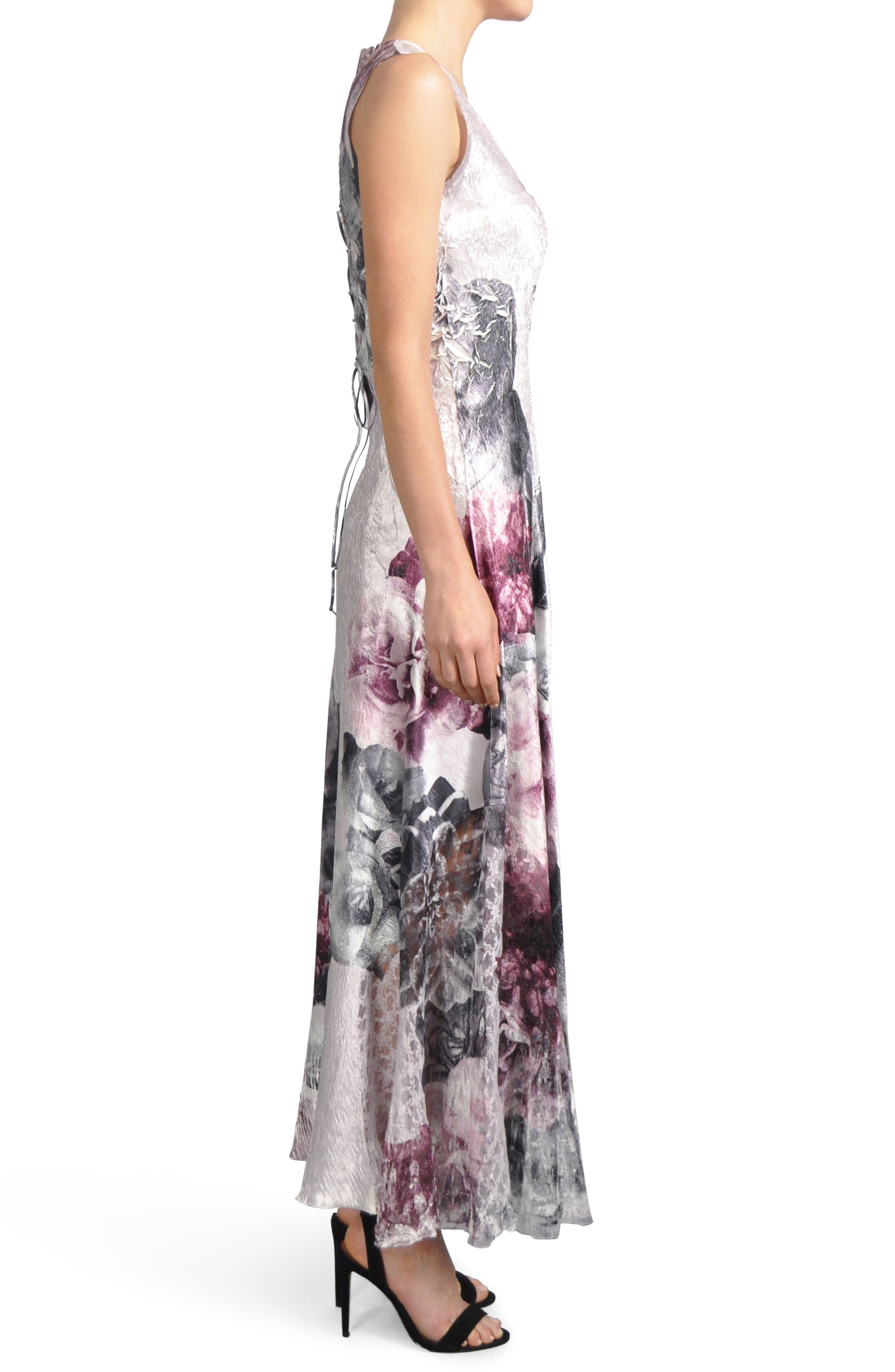 Komorav Lace-Up Back Maxi Dress with Shawl,                             Alternate thumbnail 3, color,                             508