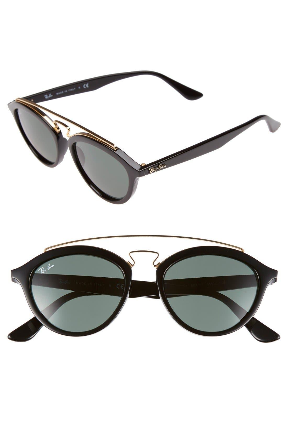 Highstreet 50mm Brow Bar Sunglasses,                             Main thumbnail 5, color,