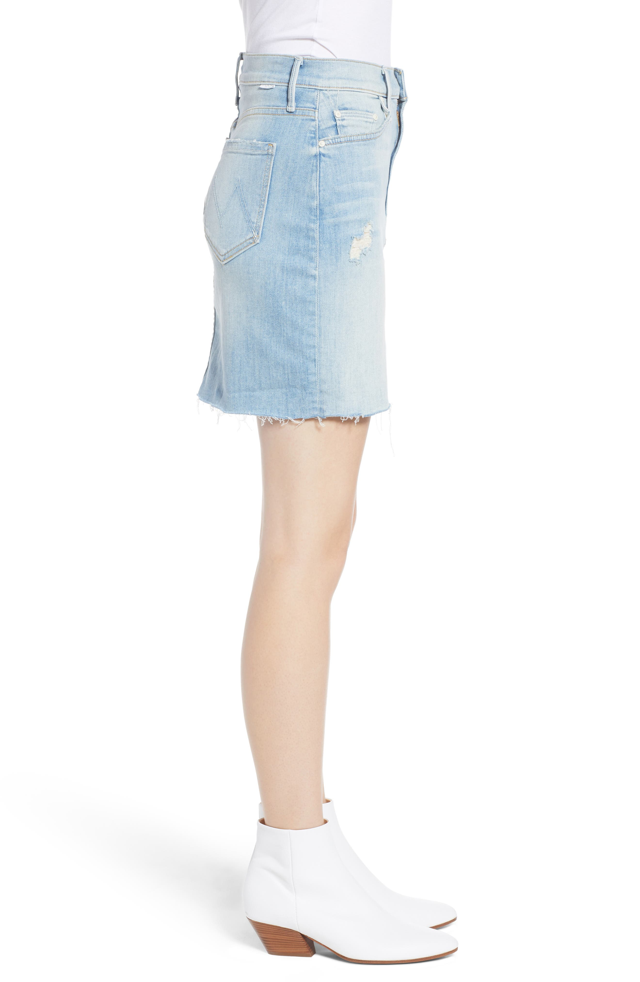 The Sacred Frayed High Waist Miniskirt,                             Alternate thumbnail 3, color,                             WRITTEN IN THE SAND