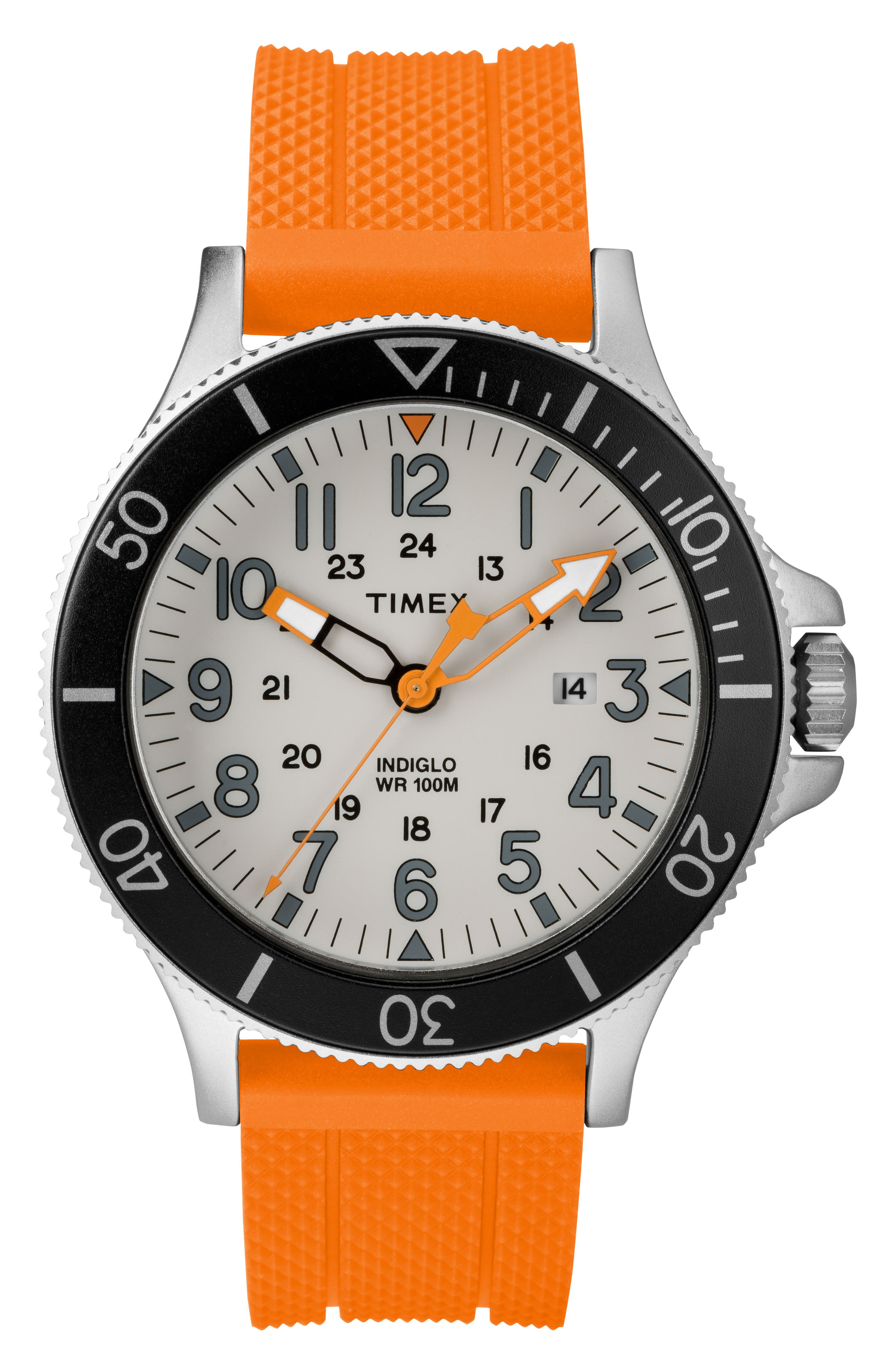 Allied Silicone Strap Watch, 43mm,                             Main thumbnail 1, color,                             ORANGE/ GREY/ SILVER