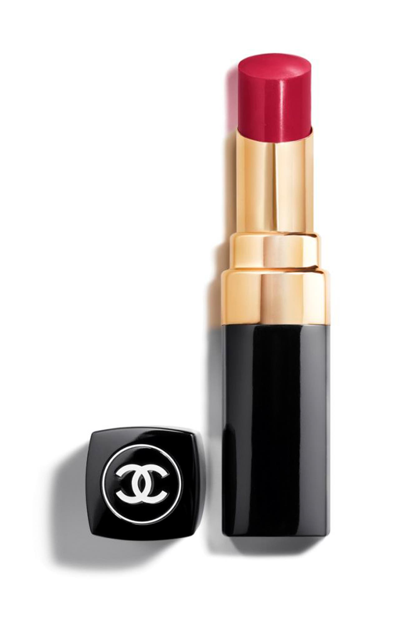 CHANEL,                             ROUGE COCO SHINE<br />Hydrating Sheer Lipshine,                             Main thumbnail 1, color,                             144 ROUGE IRRESISTIBLE