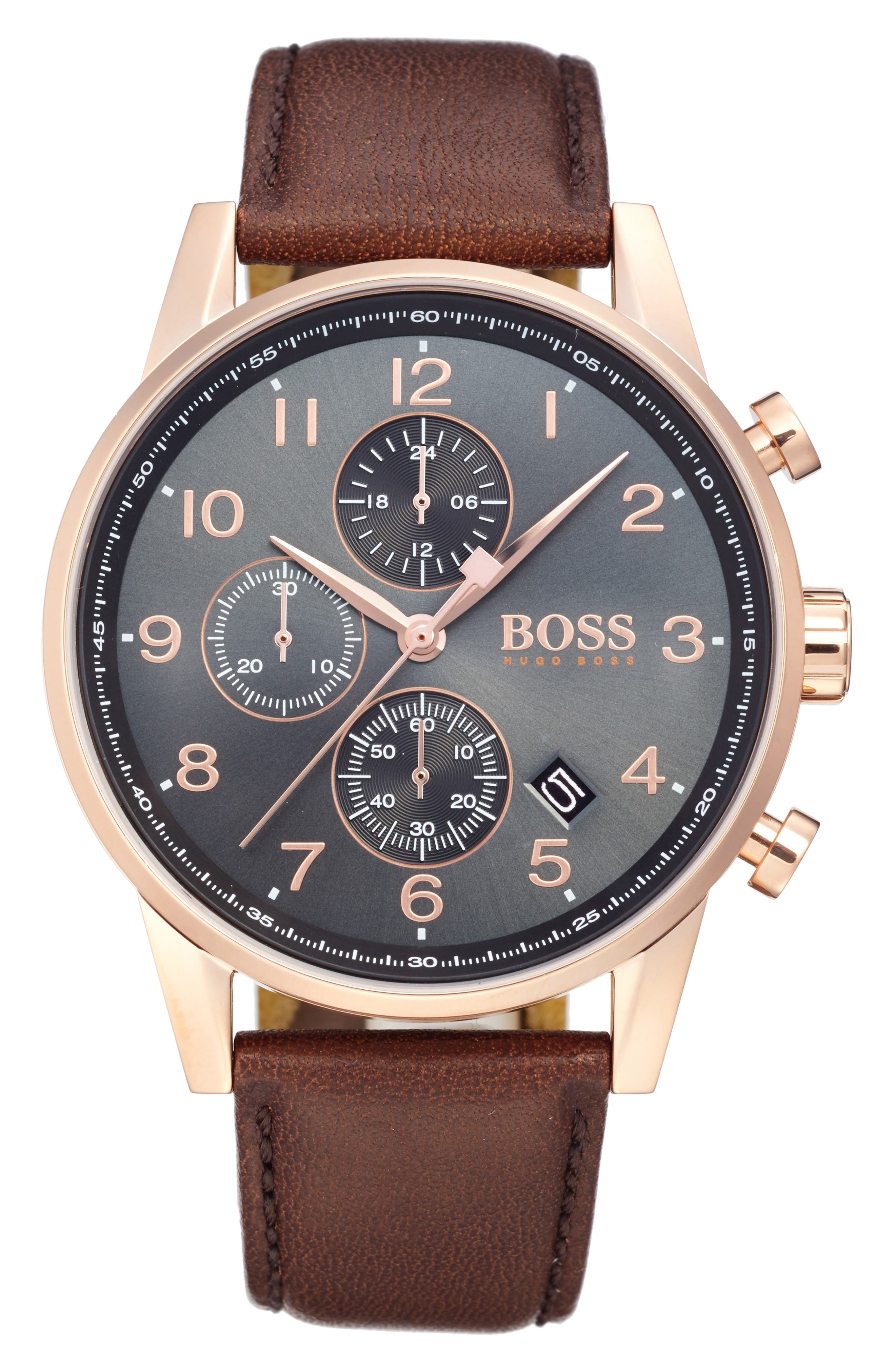 BOSS,                             Navigator Chronograph Leather Strap Watch, 44mm,                             Main thumbnail 1, color,                             200