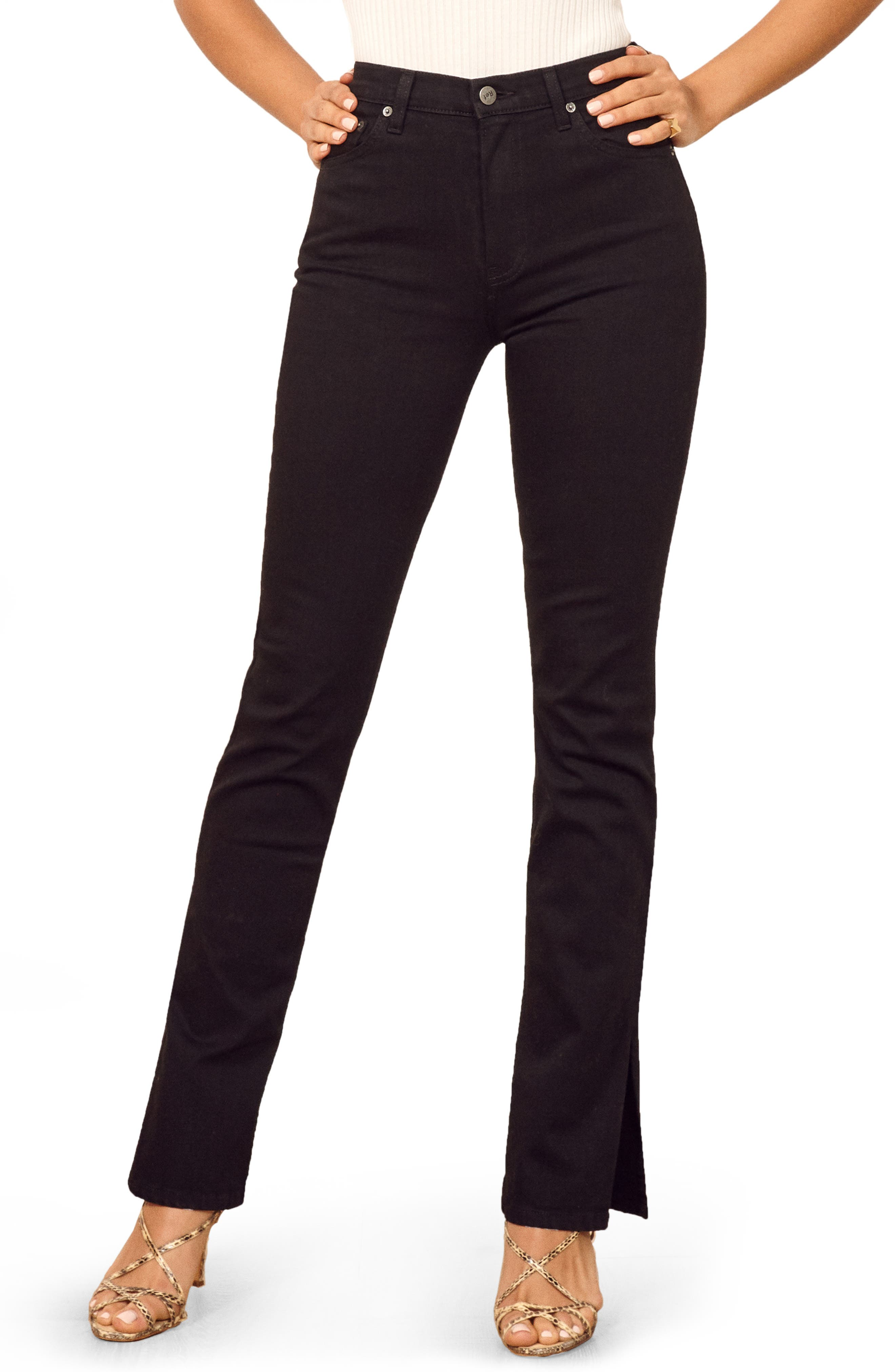 Perri Flare Jeans, Main, color, BLACK