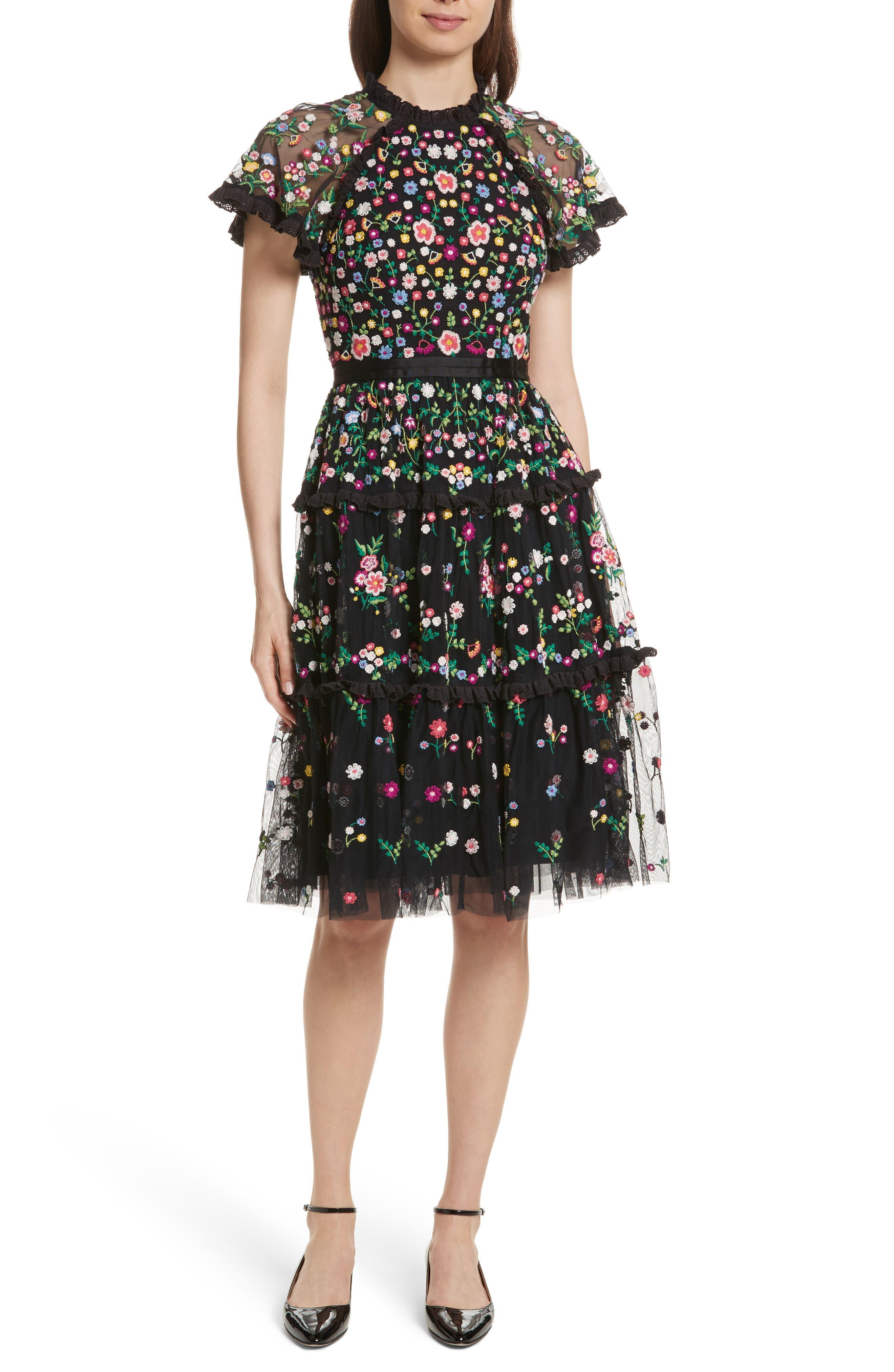 Lazy Daisy Fit & Flare Dress,                             Main thumbnail 1, color,                             001