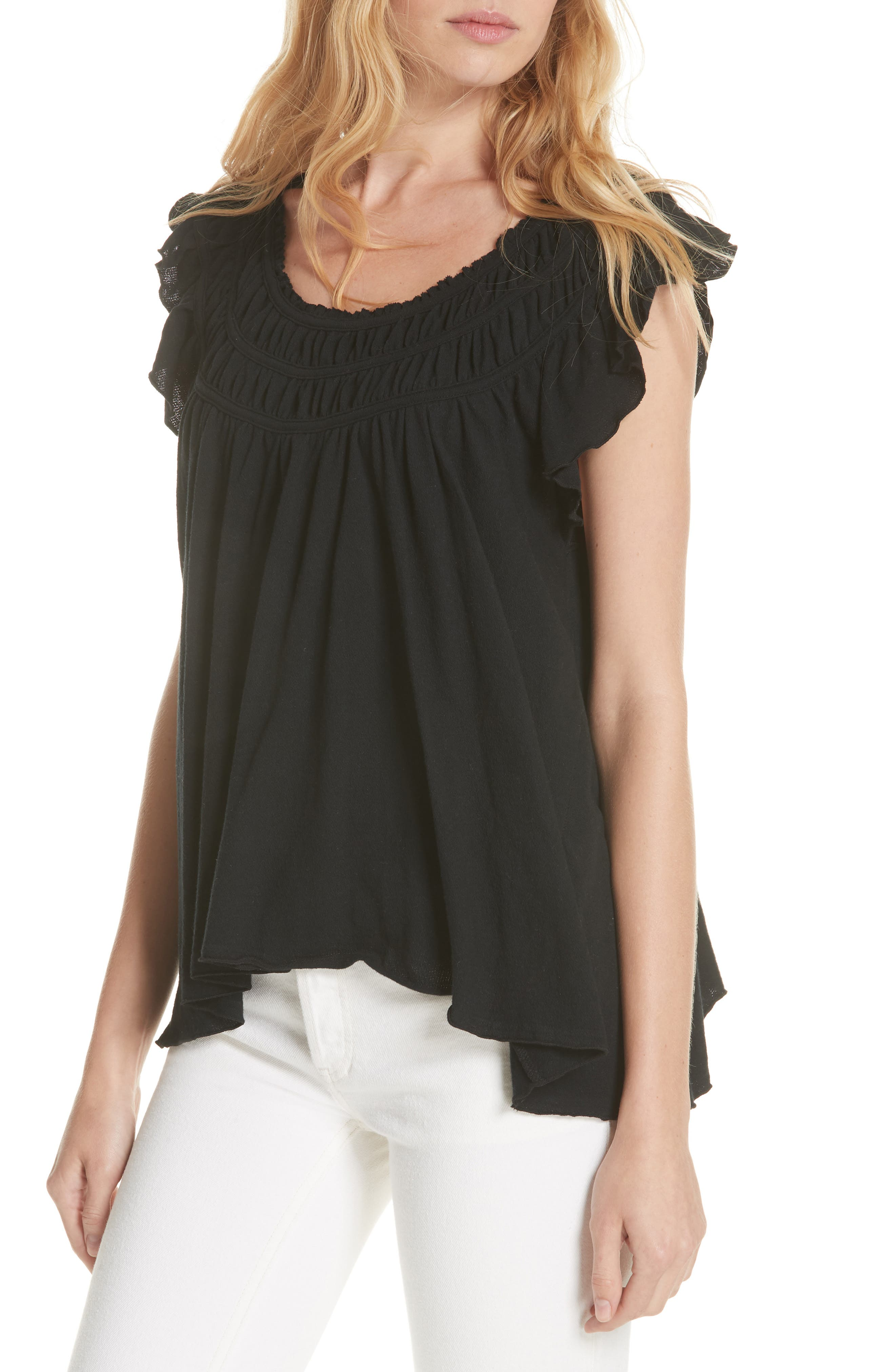 We the Free by Free People Coconut Gathered Top,                         Main,                         color, BLACK