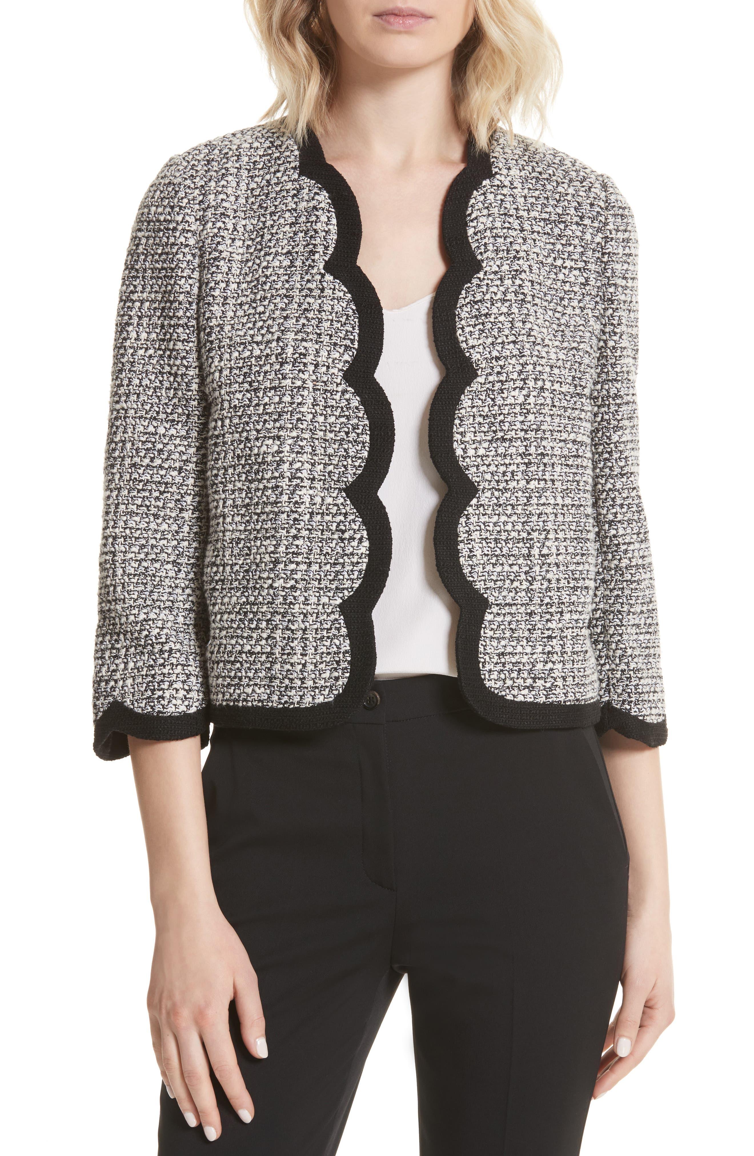 scallop tweed jacket,                         Main,                         color,