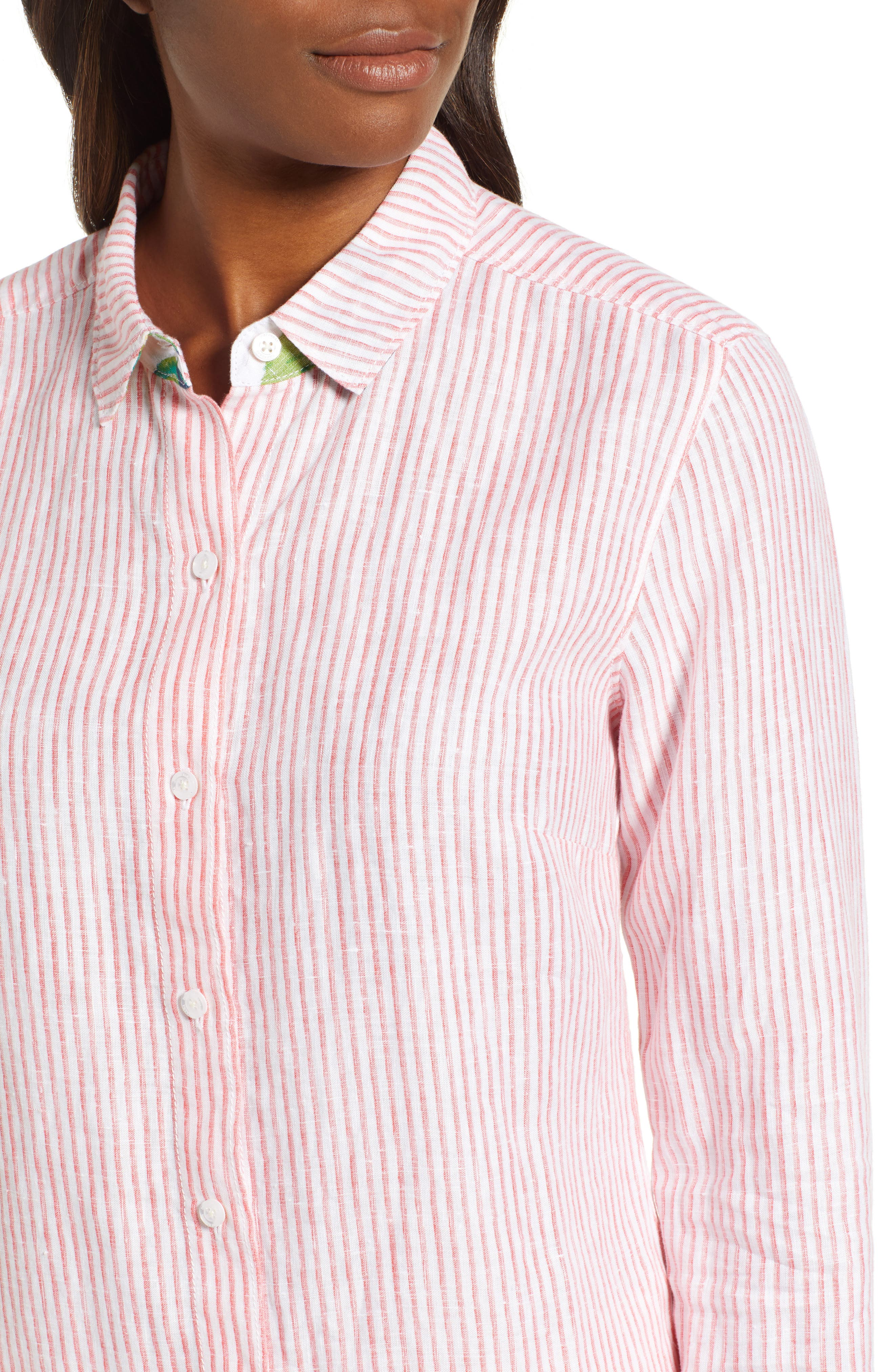 Crystalline Waters Long Sleeve Shirt,                             Alternate thumbnail 4, color,                             DUBARRY CORAL