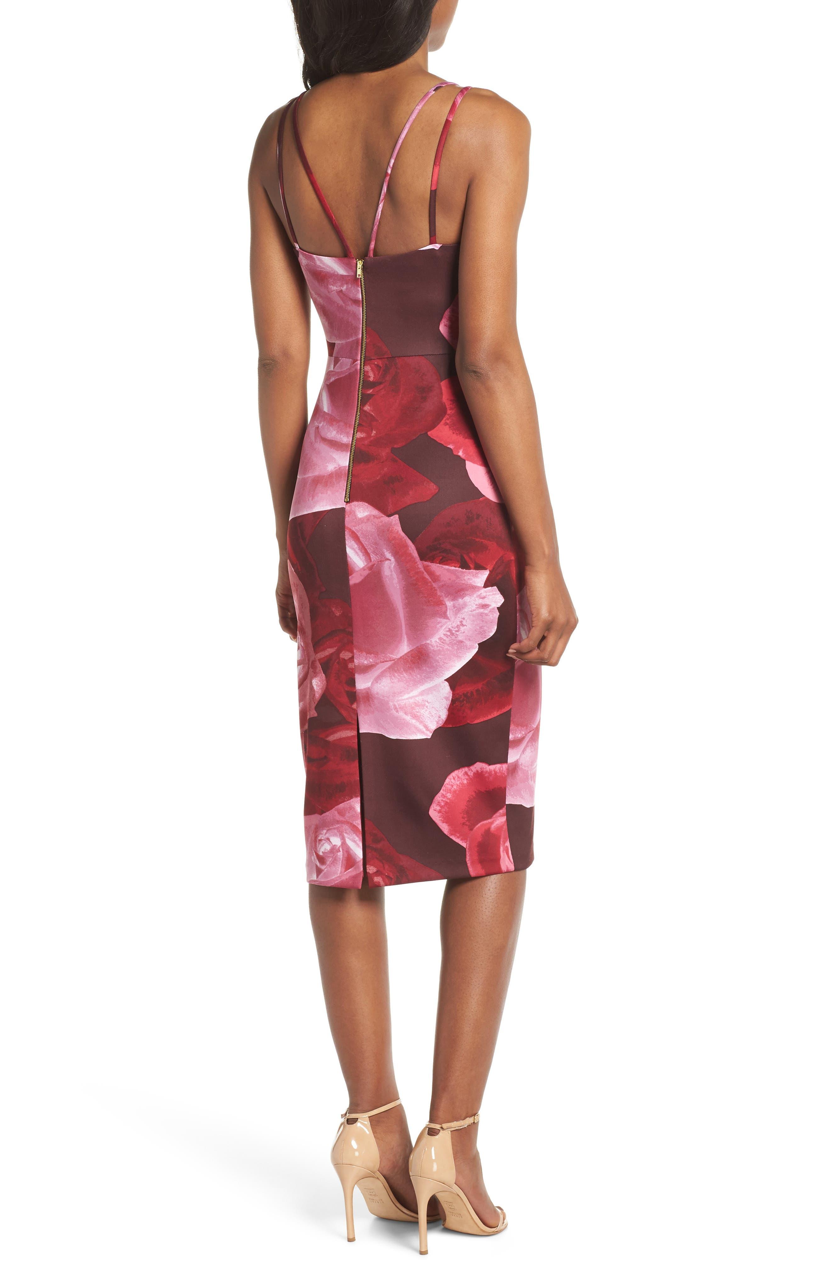 Floral Print Scuba Crepe Dress,                             Alternate thumbnail 2, color,                             MAGENTA