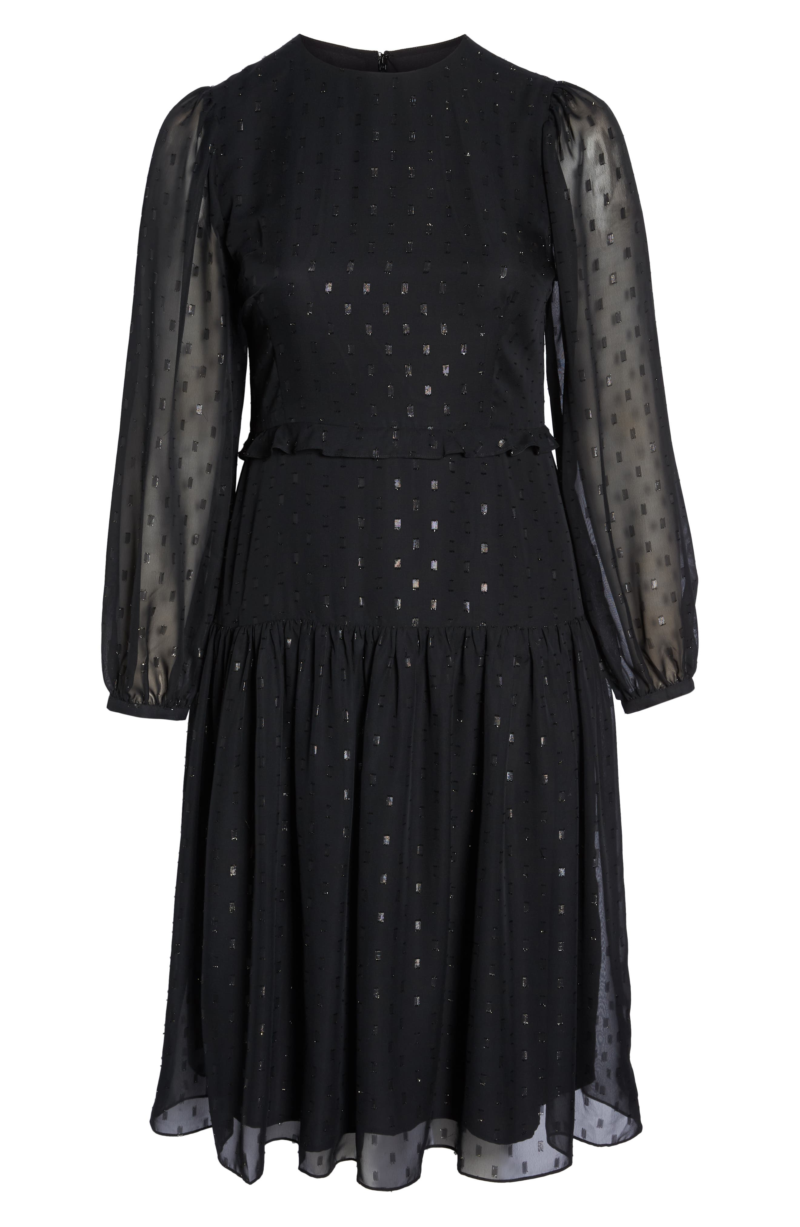 Fil Coupé Midi Dress,                             Alternate thumbnail 8, color,                             BLACK