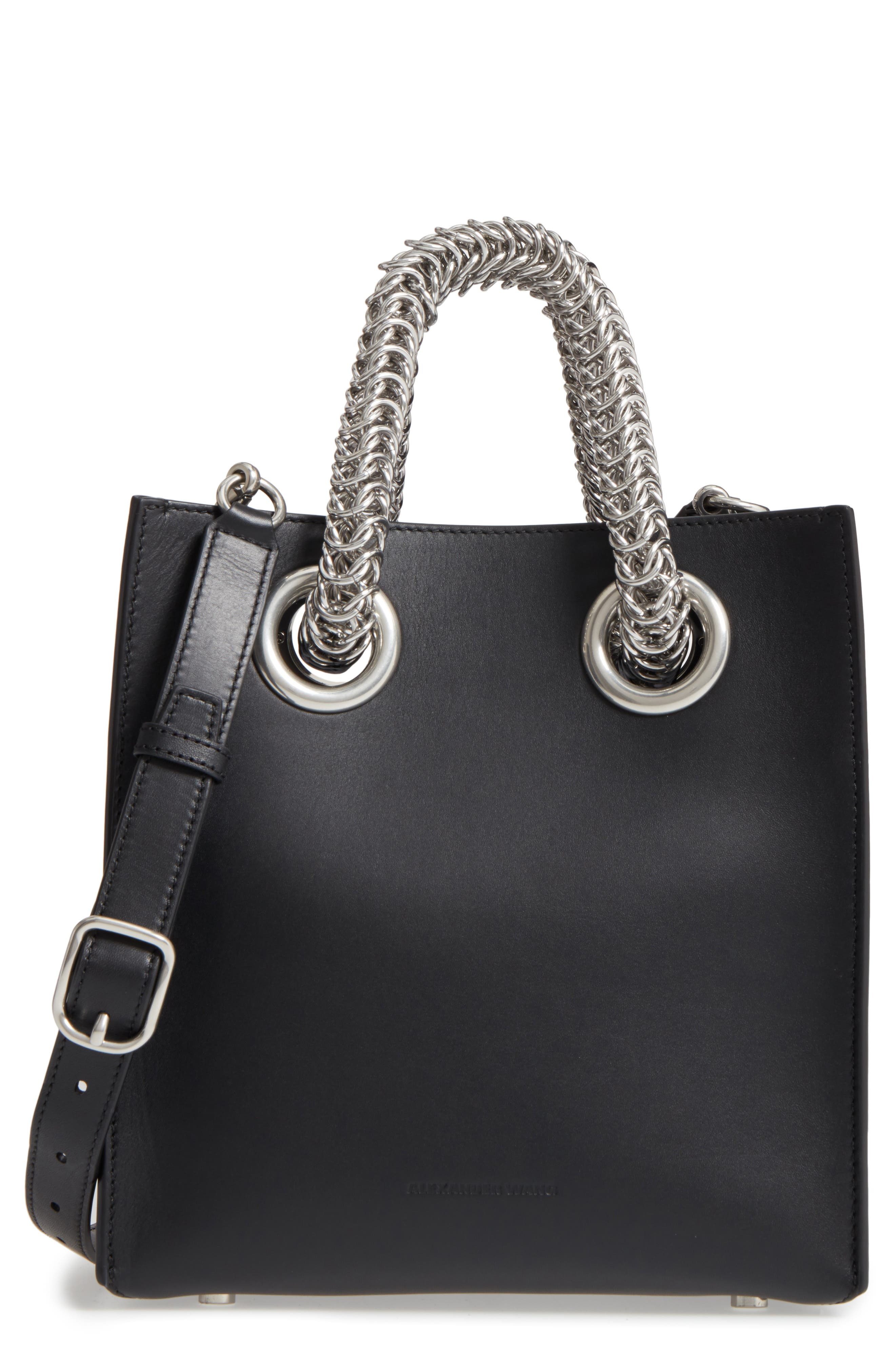 Genesis Box Chain Square Leather Shopper,                             Main thumbnail 1, color,                             BLACK