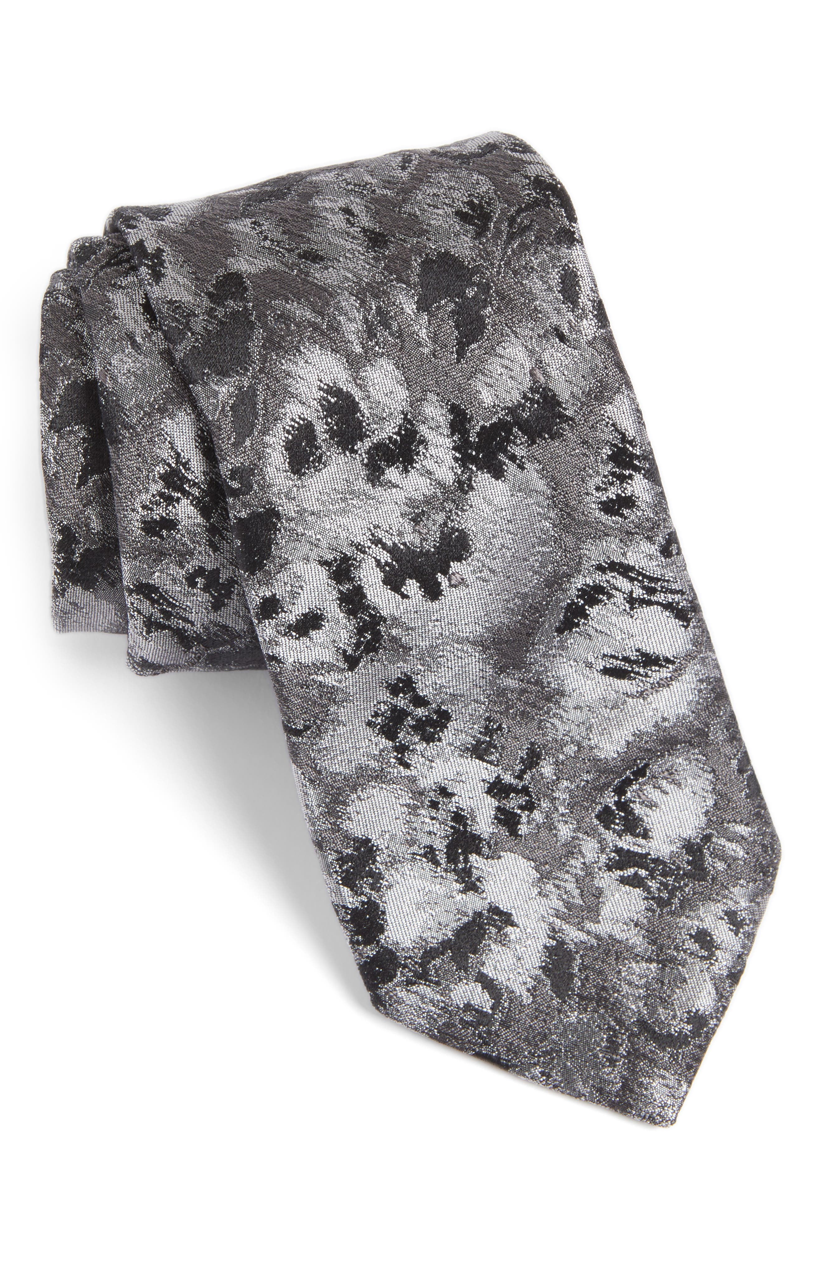 Moonlight Abstract Floral Silk Tie,                         Main,                         color, 020