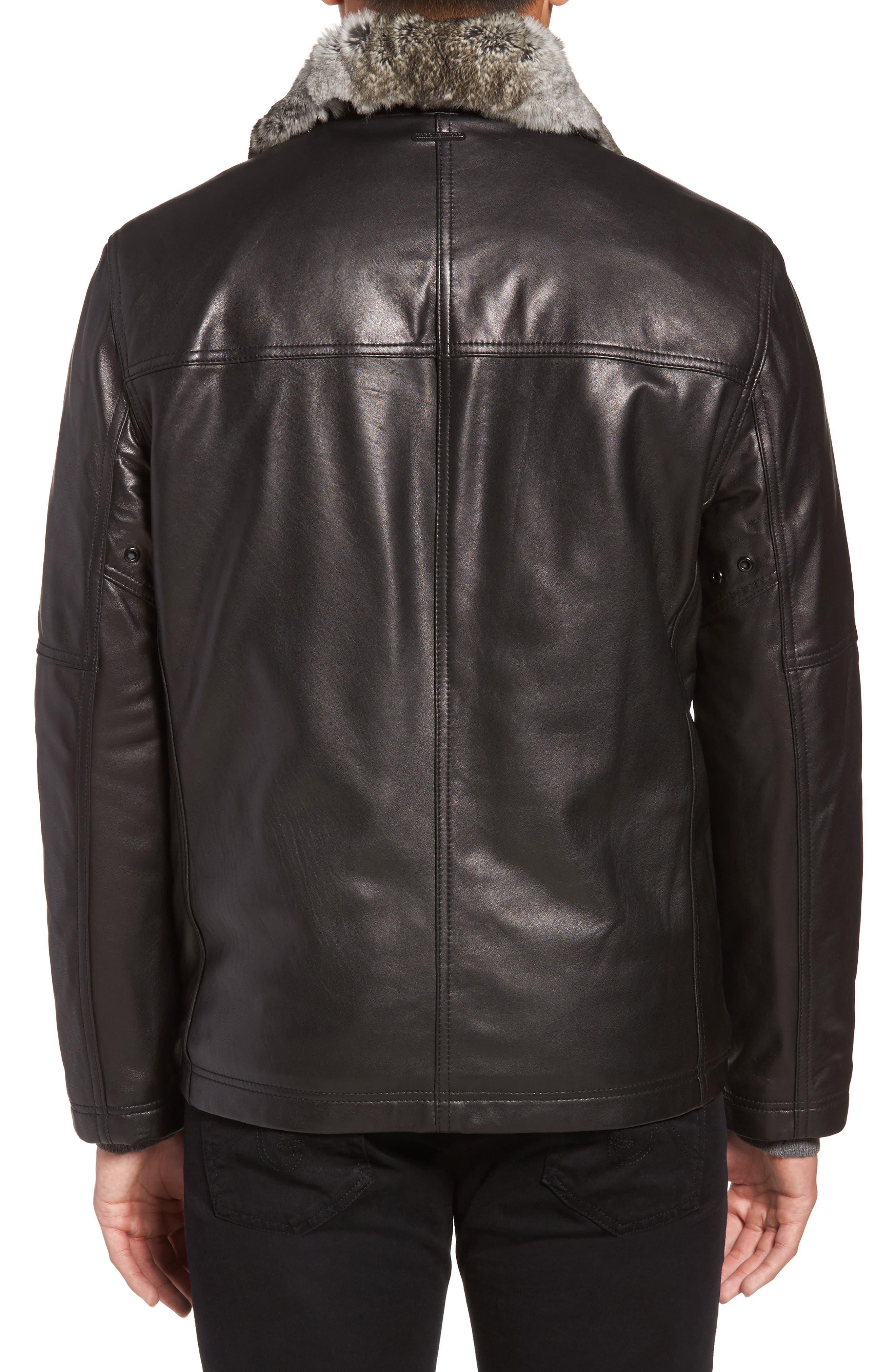 Lambskin Leather Jacket with Genuine Rabbit Fur Trim,                             Alternate thumbnail 3, color,