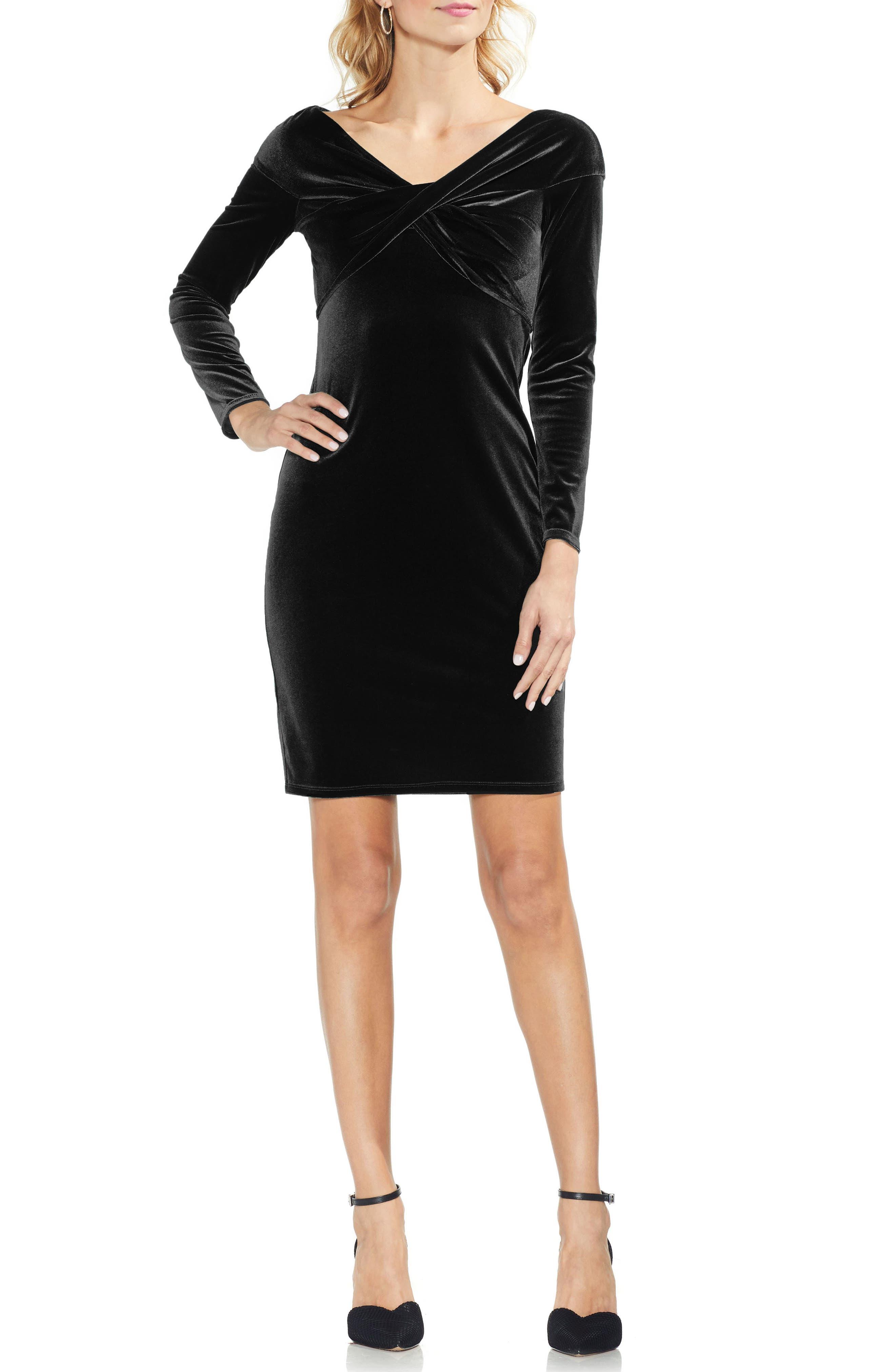 Twist Front Stretch Velvet Dress,                             Main thumbnail 1, color,                             RICH BLACK