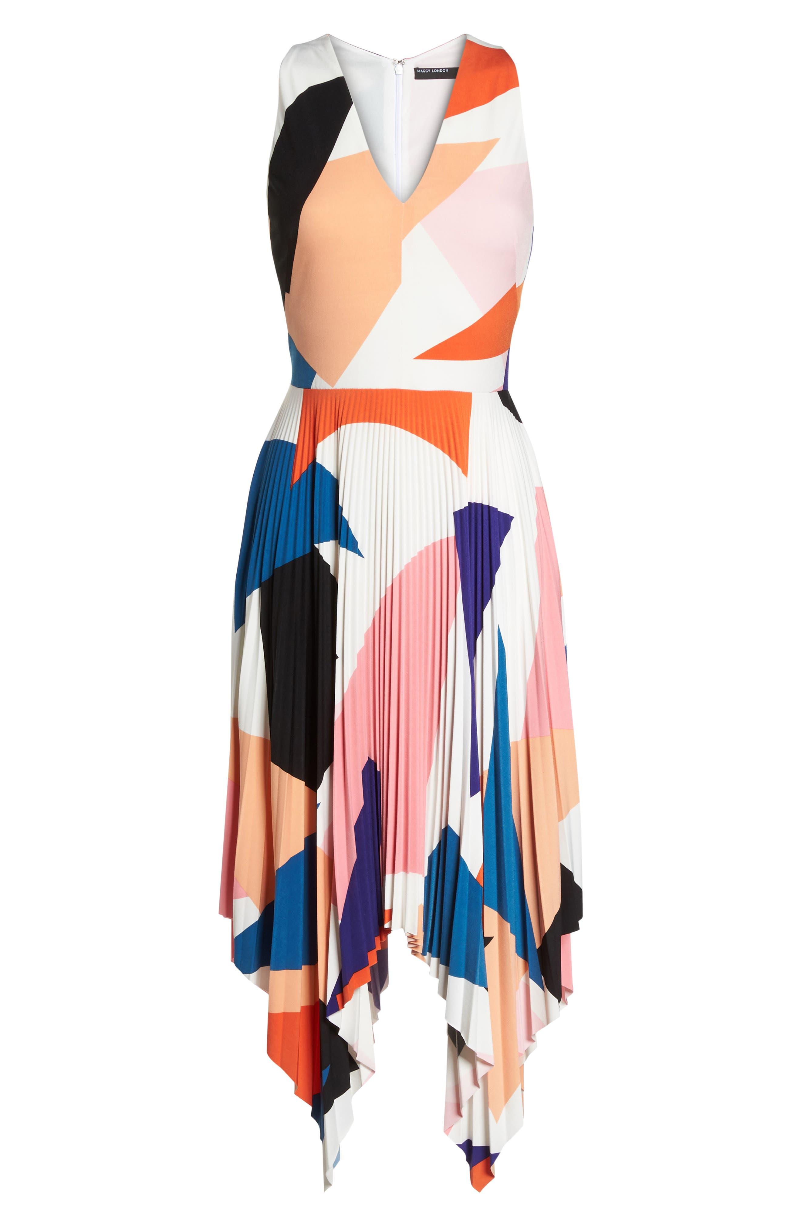 Print Handkerchief Hem Midi Dress,                             Alternate thumbnail 7, color,                             650
