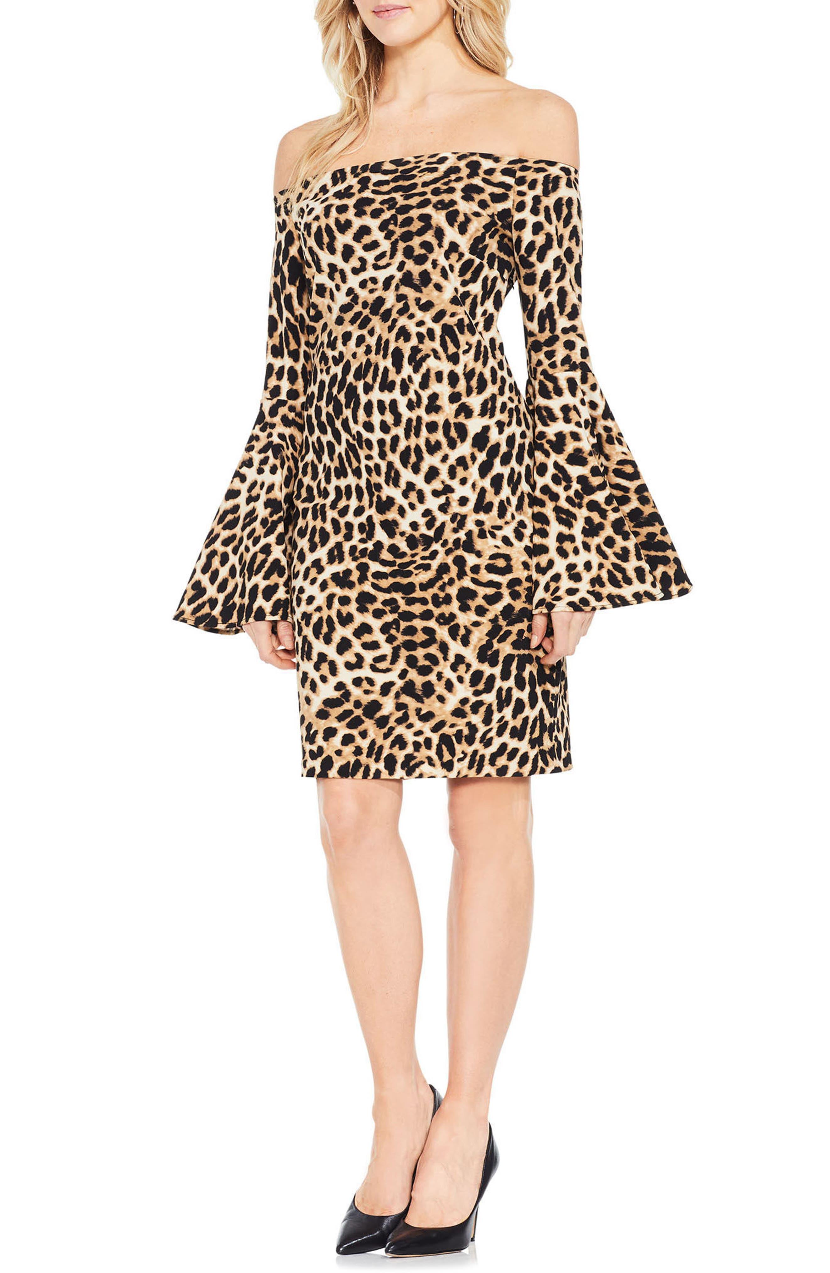 Animal Print Off the Shoulder Dress,                         Main,                         color, 006
