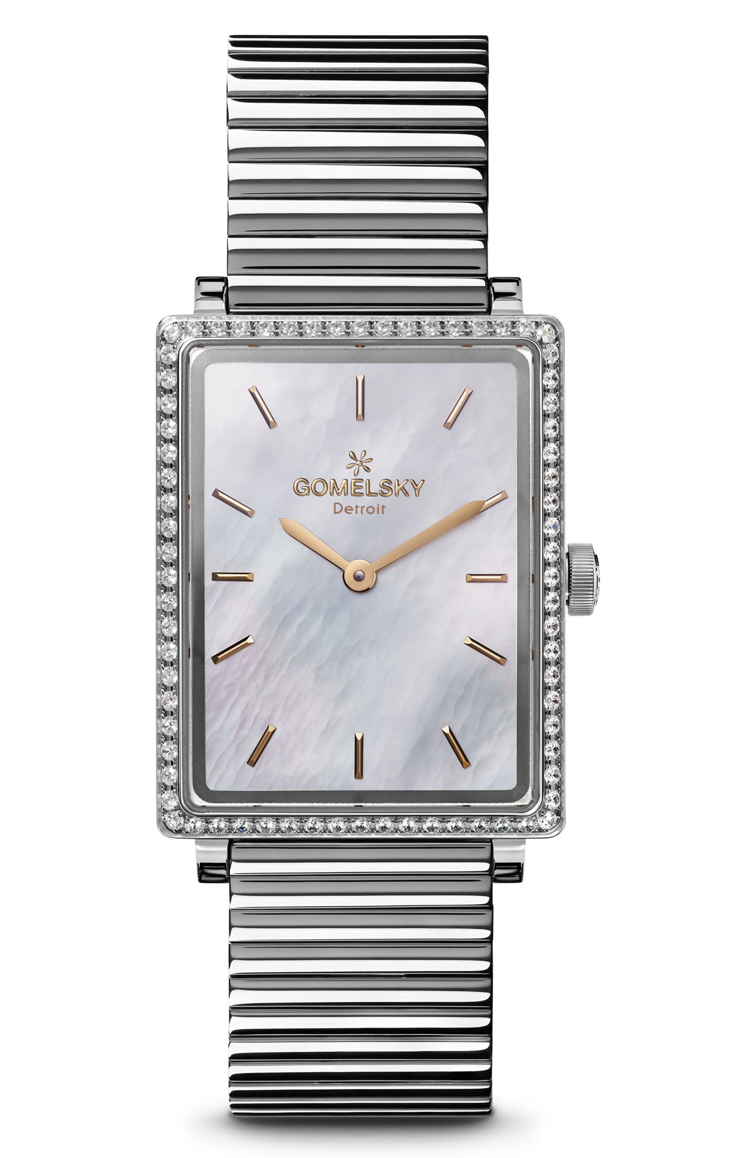 The Shirley Fromer Diamond Bracelet Watch, 32mm x 25mm,                             Main thumbnail 1, color,                             SILVER/ MOP/ SILVER