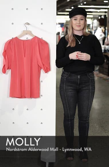 Draped Sleeve Stretch Silk Top, sales video thumbnail
